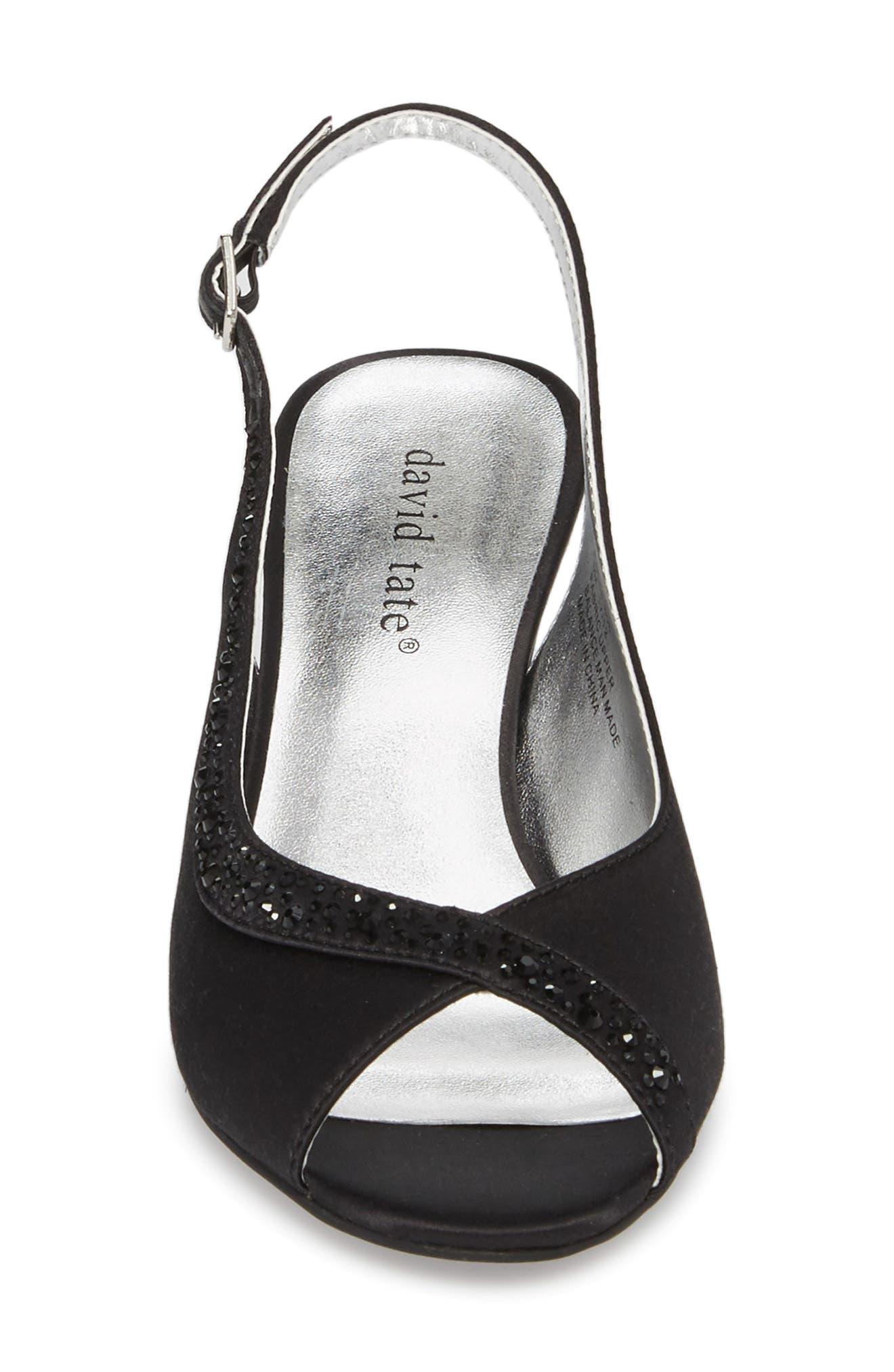 Dainty Slingback Sandal,                             Alternate thumbnail 4, color,                             Black Satin