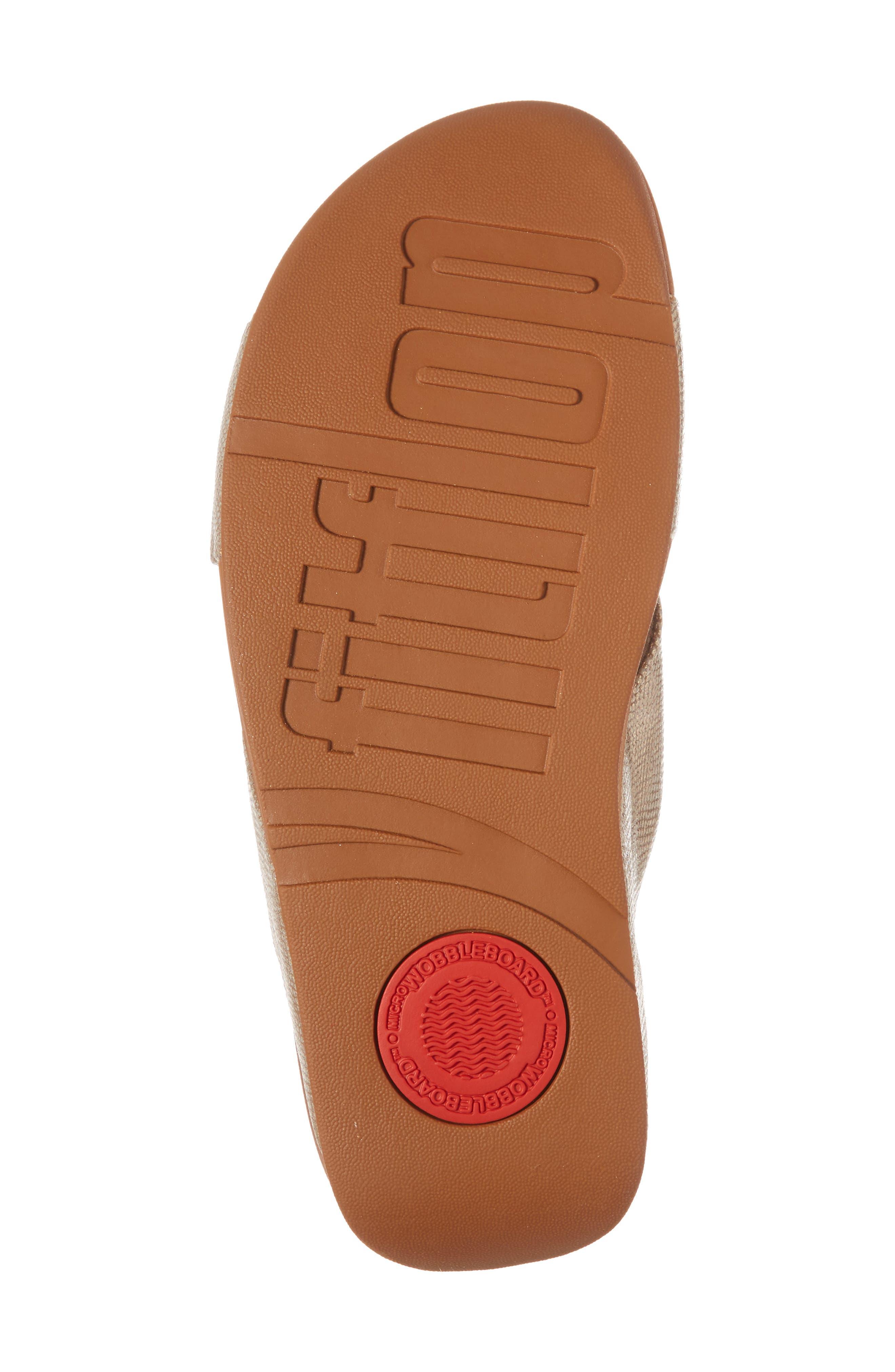 Lulu Cross Slide Sandal,                             Alternate thumbnail 6, color,                             Gold Shimmer Print