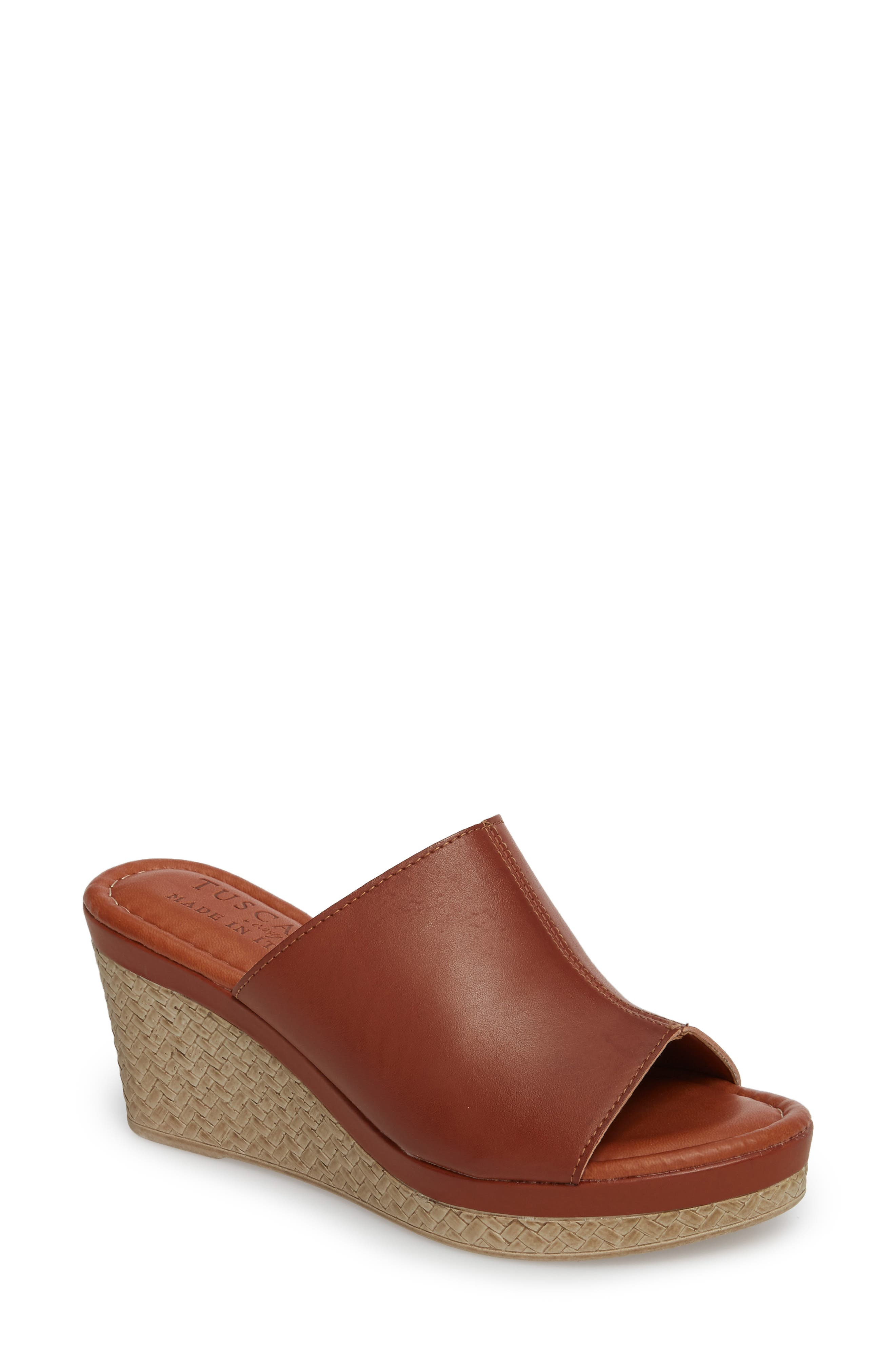 by Easy Street<sup>®</sup> Octavia Espadrille Wedge,                         Main,                         color, Cognac Faux Leather