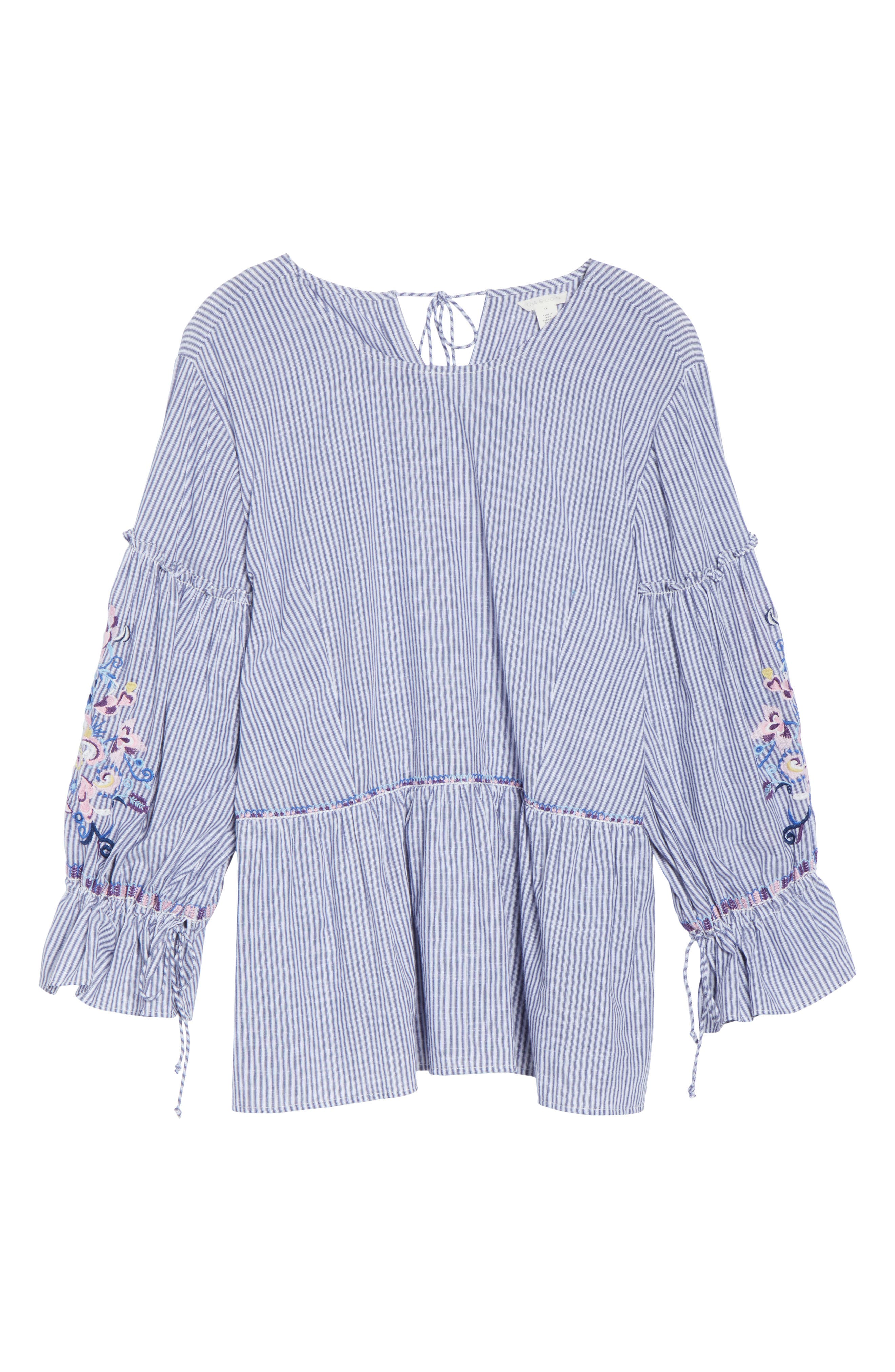 Embroidered Blouse,                             Alternate thumbnail 6, color,                             Blue-White