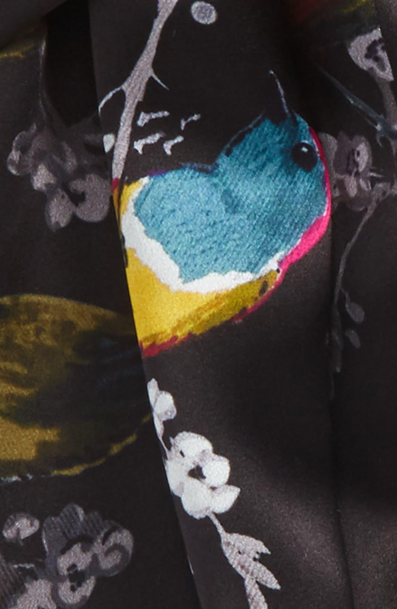 Opulent Fauna Silk Scarf,                             Alternate thumbnail 3, color,                             Black