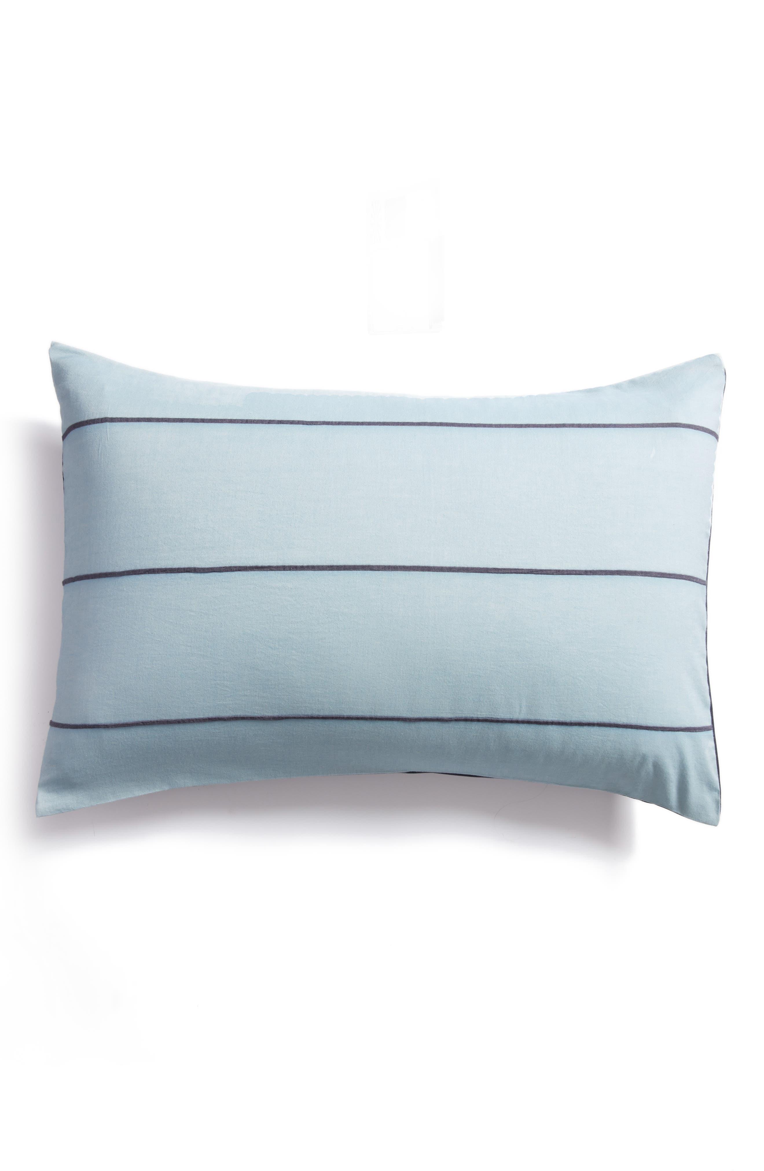 Textured Stripe Pillow Sham,                         Main,                         color, Blue Ashley