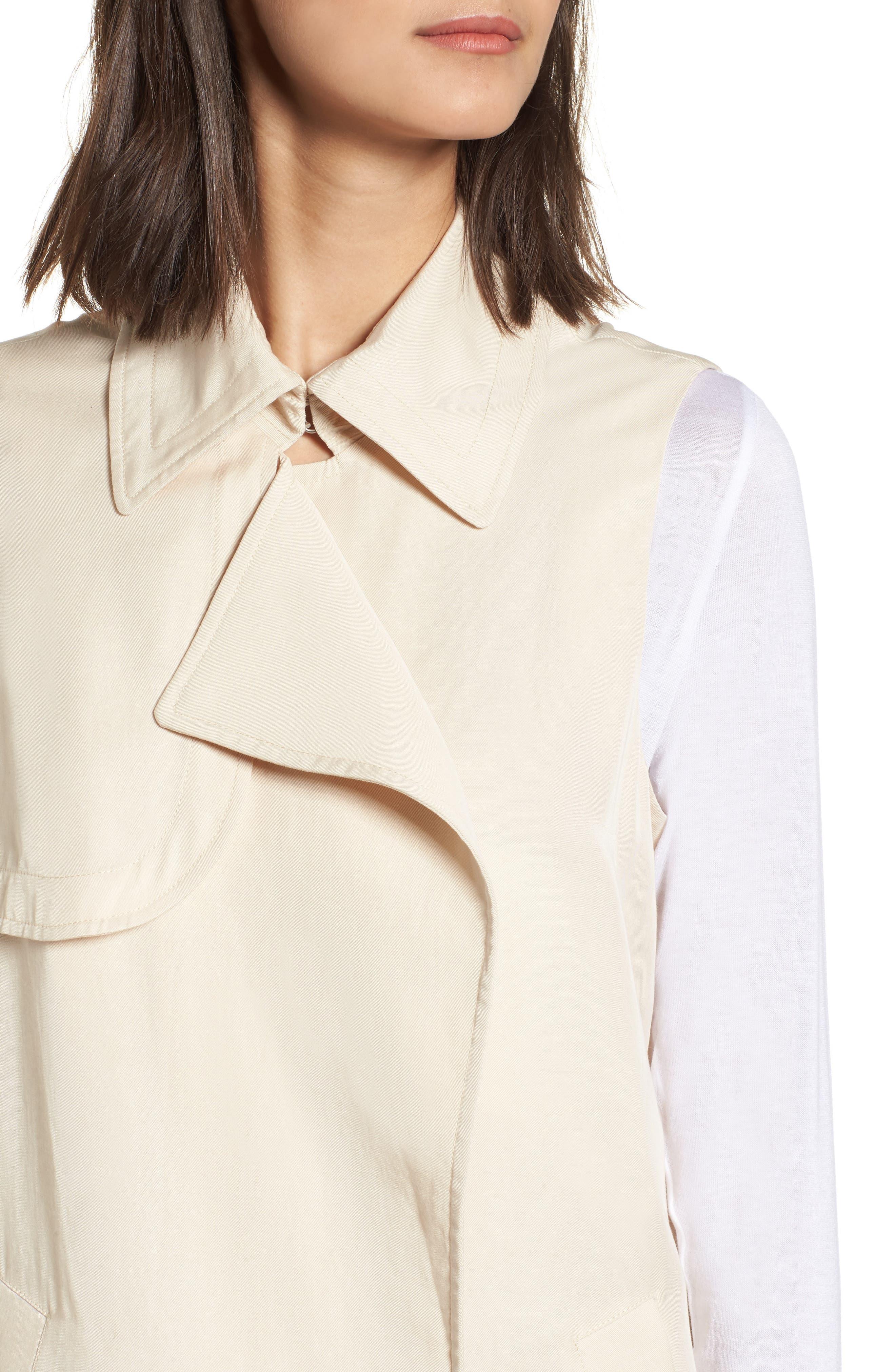 Zoe Longline Trench Vest,                             Alternate thumbnail 4, color,                             Beige