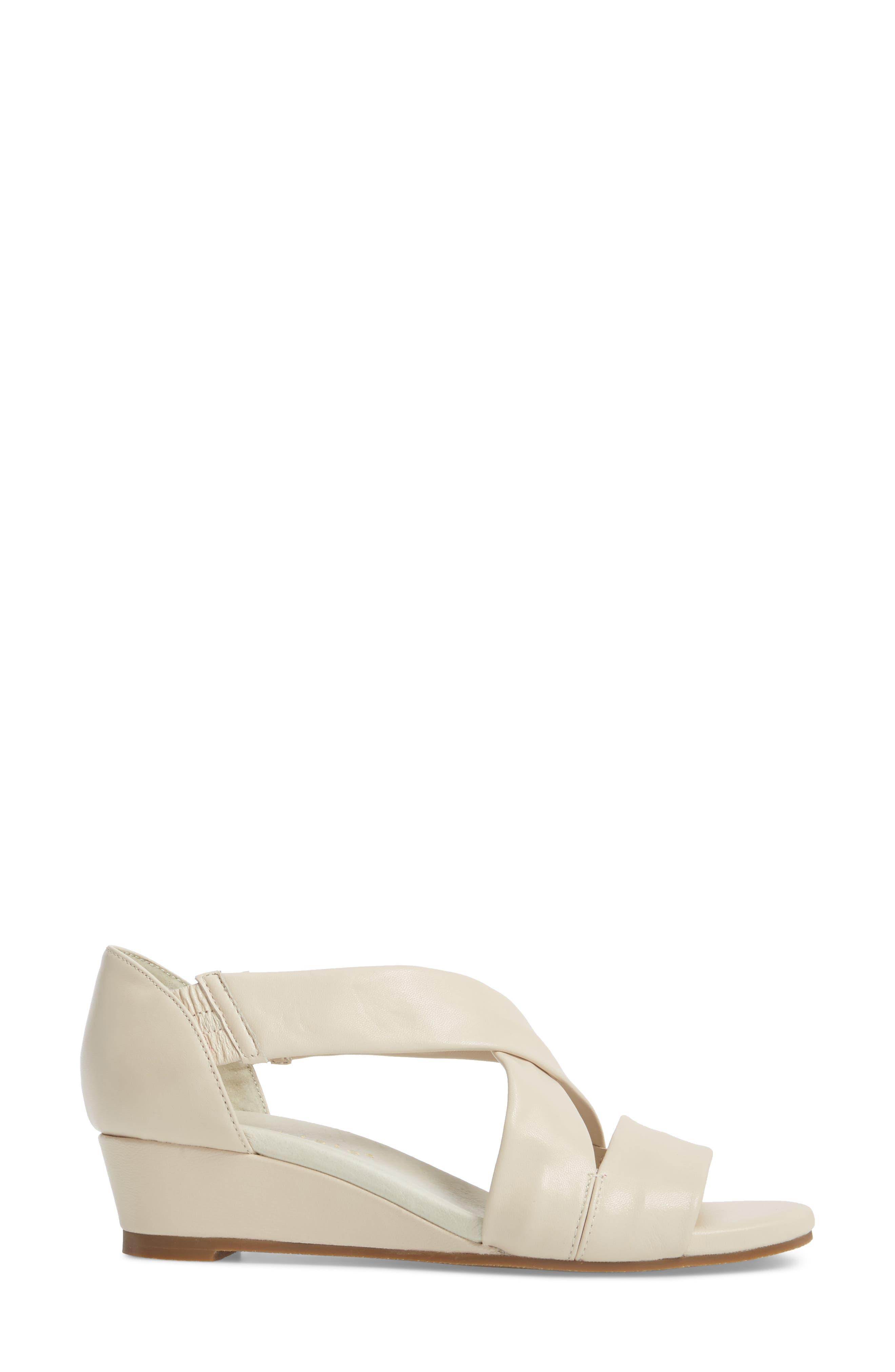 Swell Cross Strap Wedge Sandal,                             Alternate thumbnail 3, color,                             Bone Leather