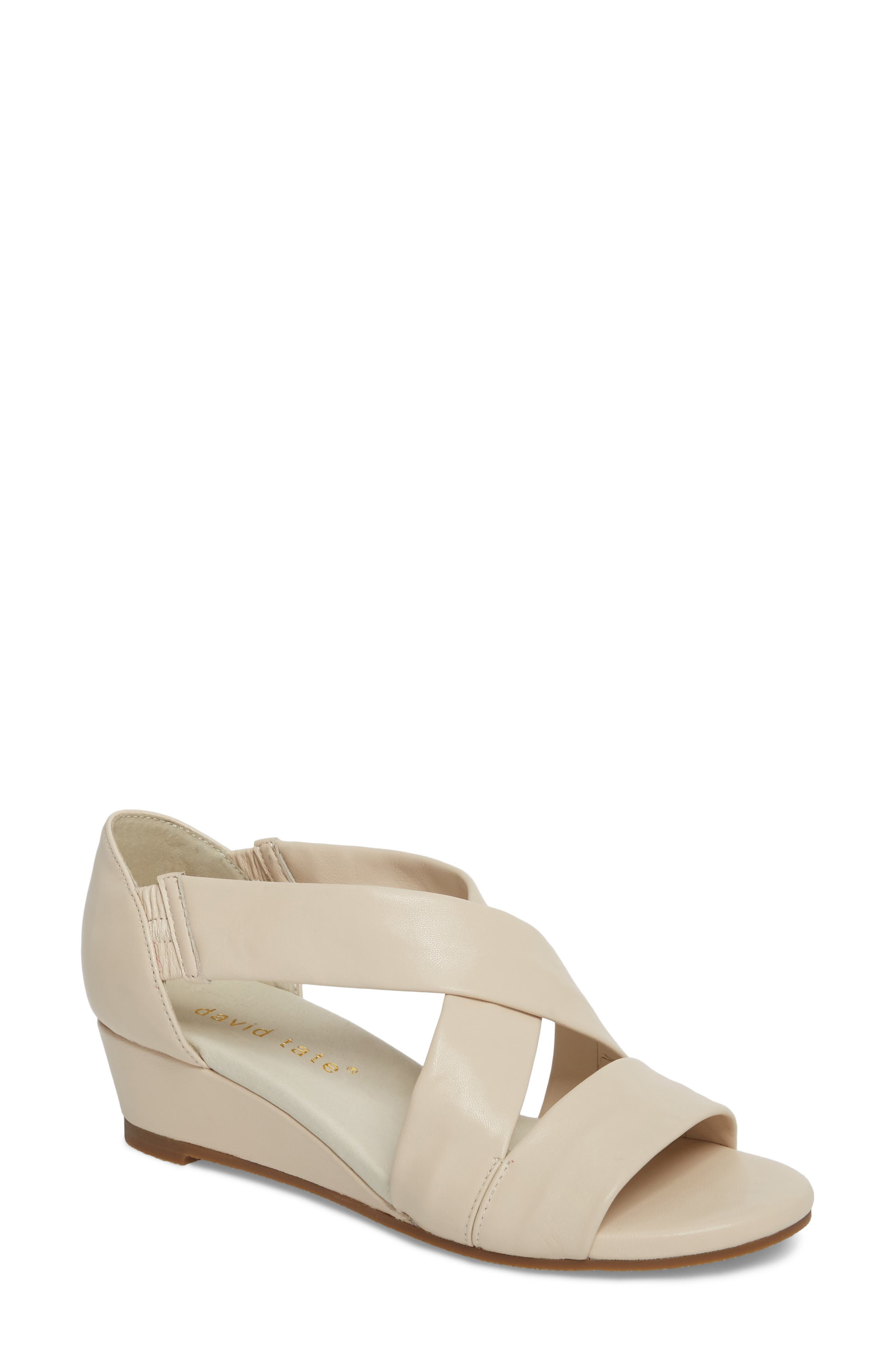 Swell Cross Strap Wedge Sandal,                         Main,                         color, Bone Leather
