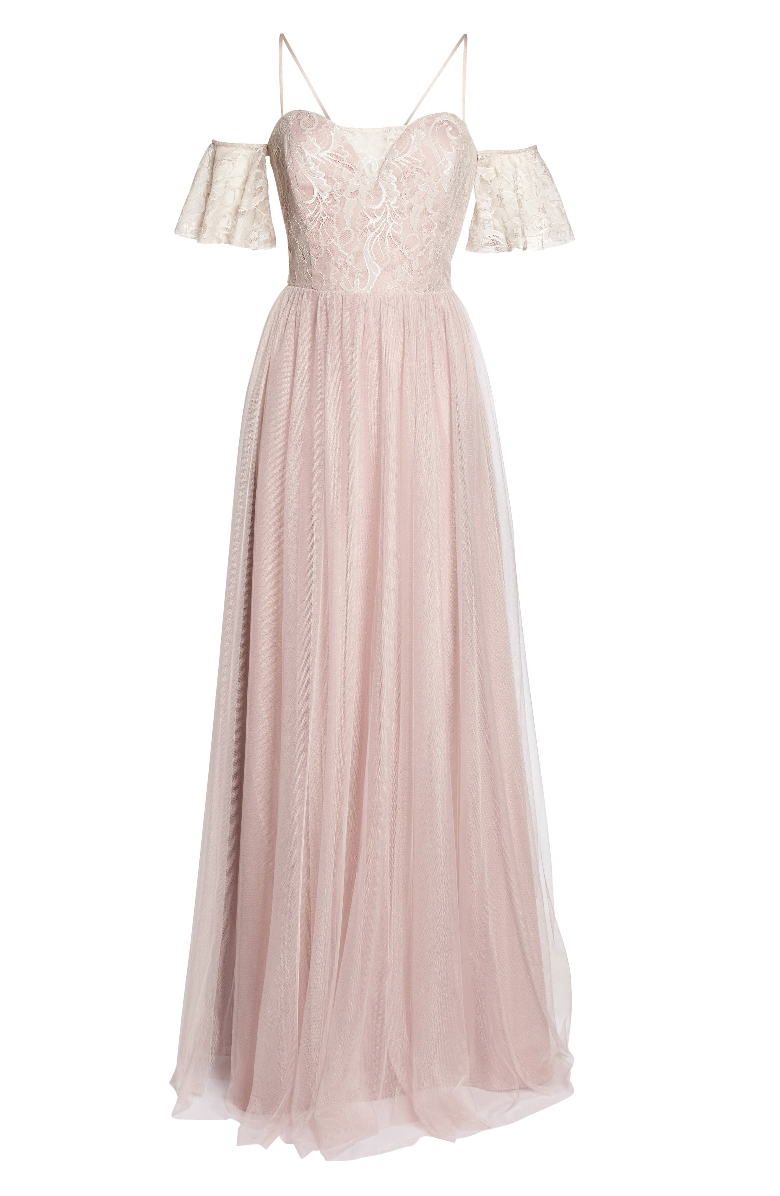 Cold Shoulder Lace Gown,                             Alternate thumbnail 6, color,                             Dusty Rose
