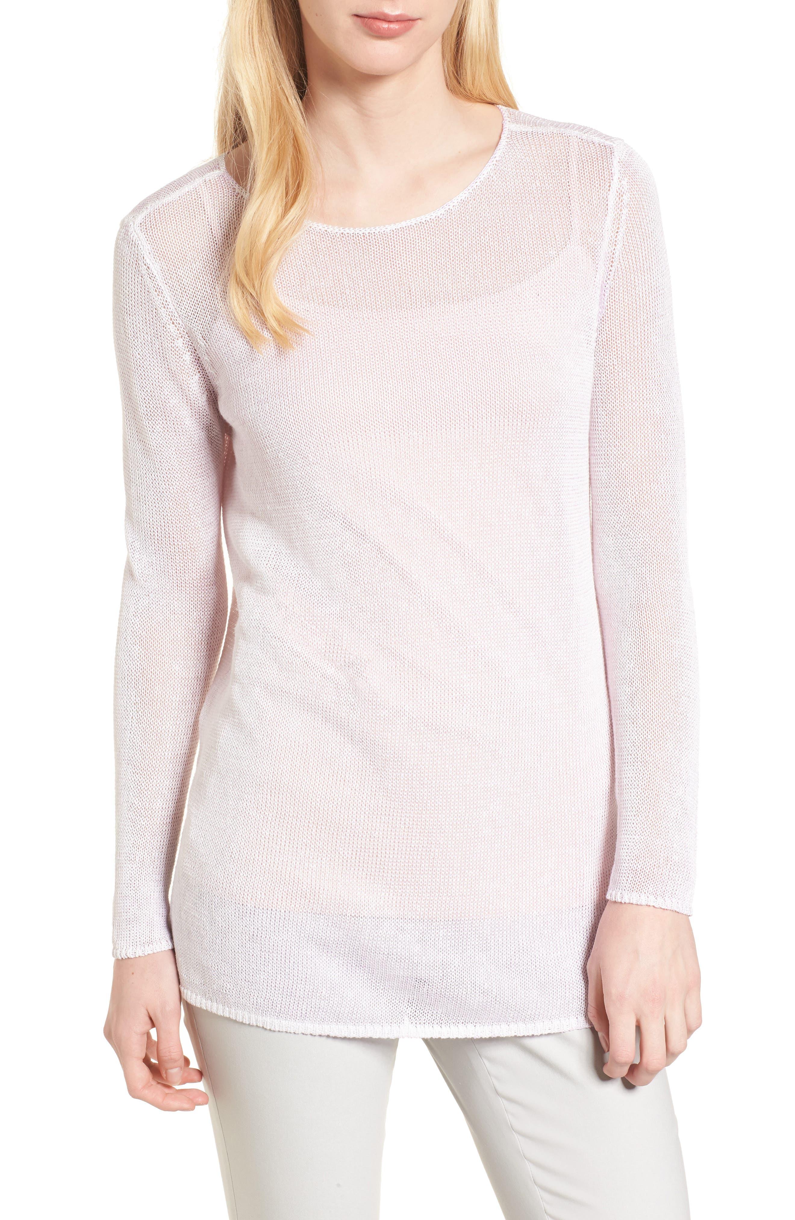 NIC + ZOE Poolside Linen Blend Sweater,                             Main thumbnail 1, color,                             Tea Dust