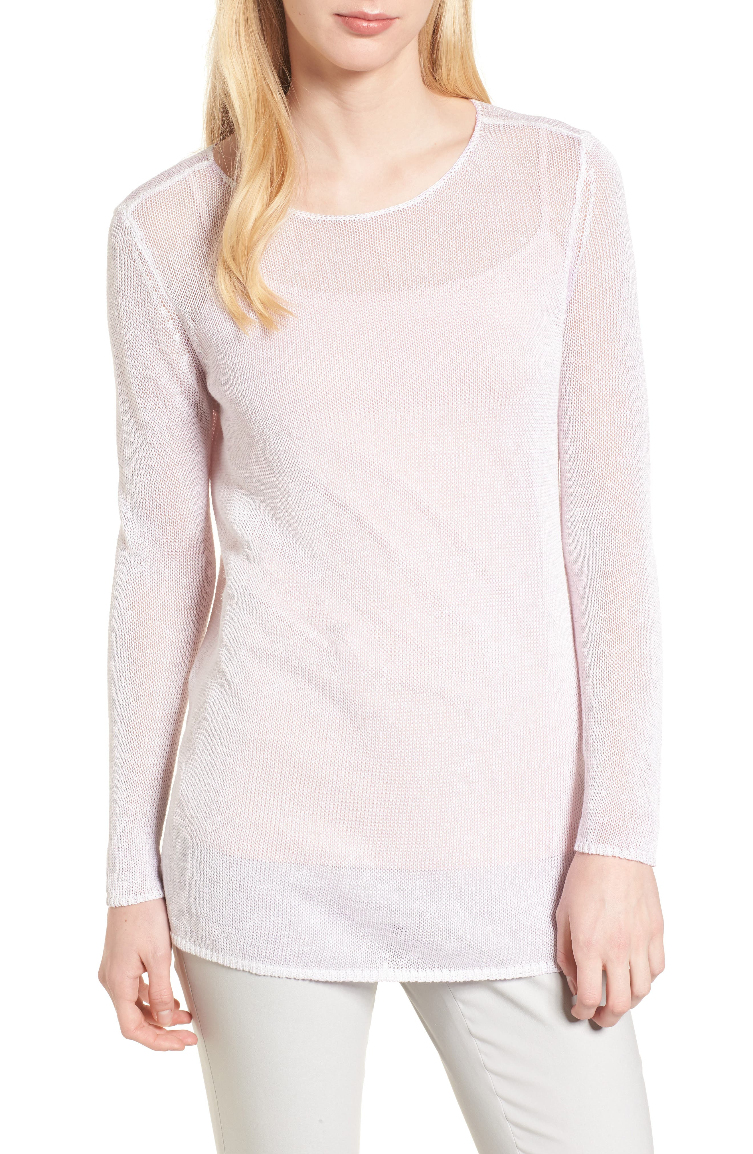 NIC + ZOE Poolside Linen Blend Sweater,                         Main,                         color, Tea Dust