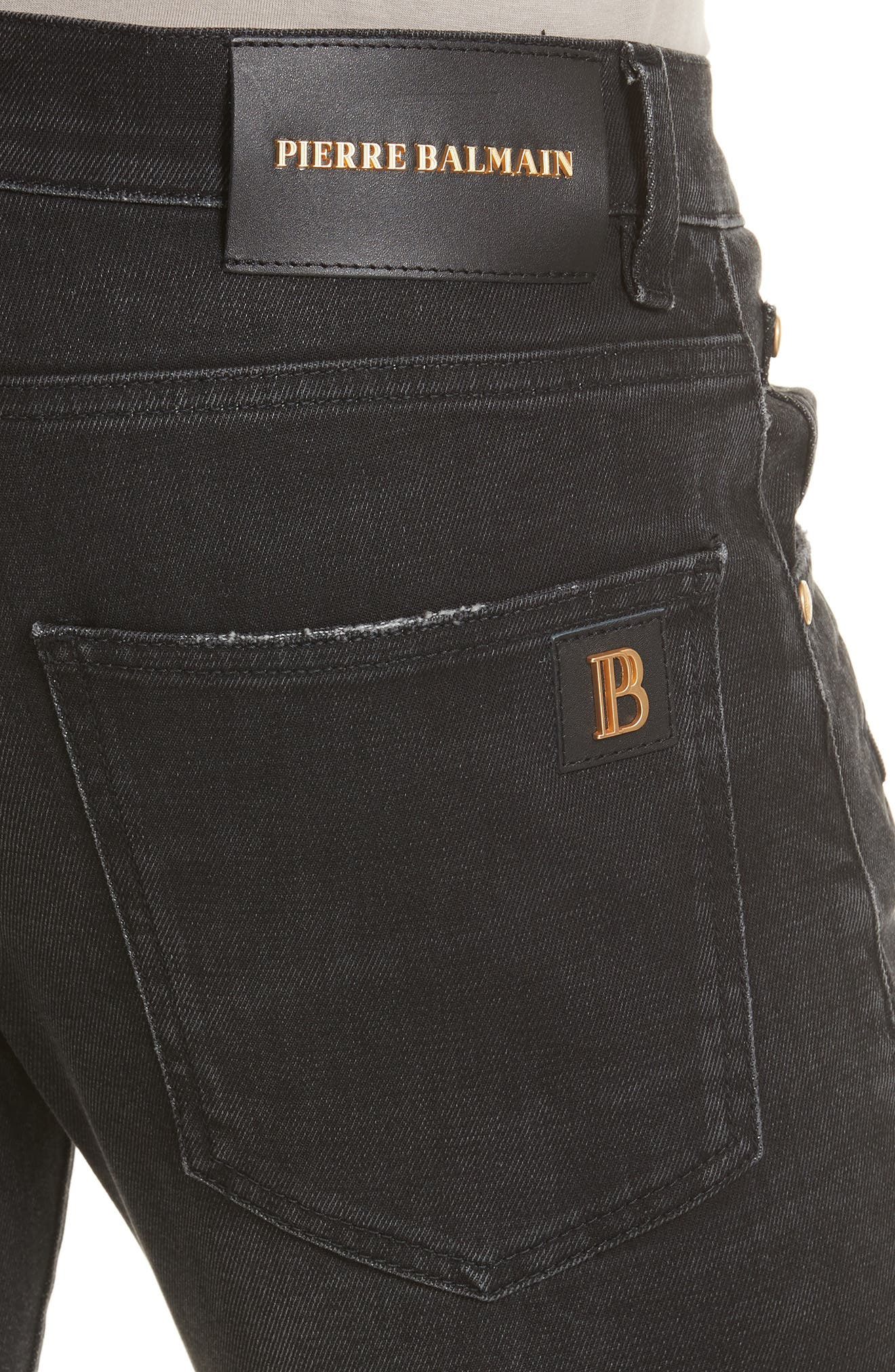 Biker Jeans,                             Alternate thumbnail 4, color,                             Black Denim