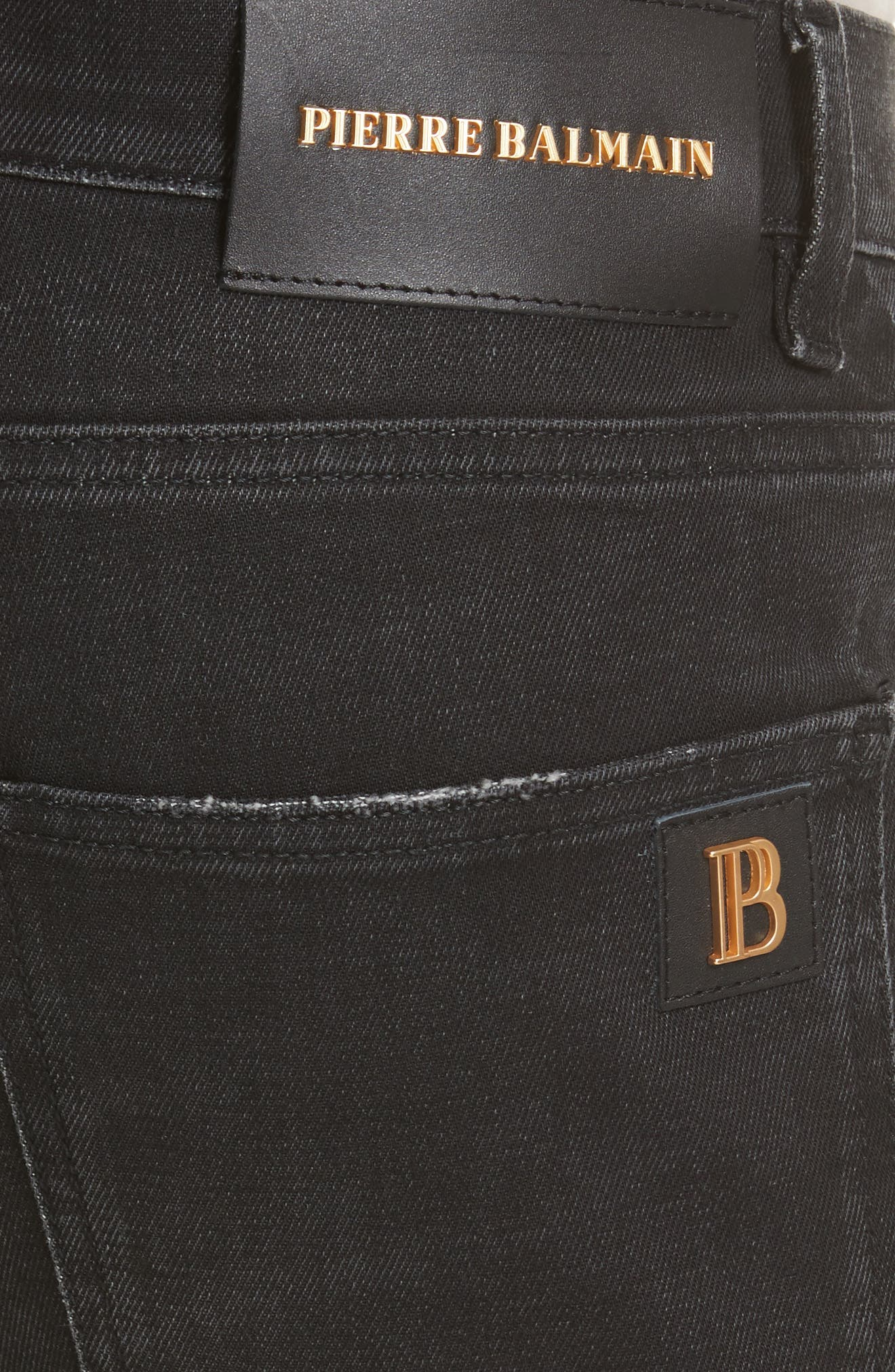 Biker Jeans,                             Alternate thumbnail 5, color,                             Black Denim