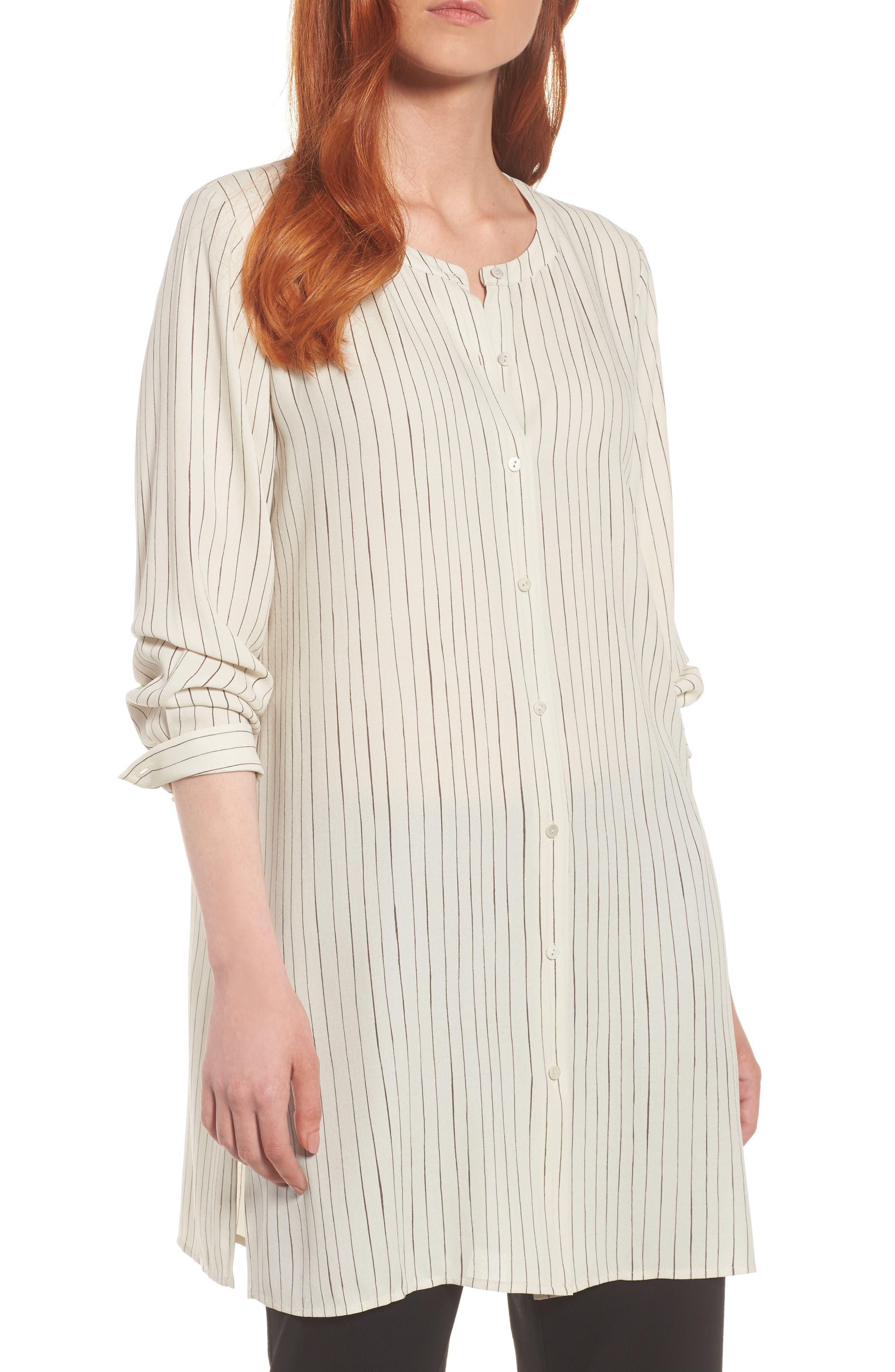 Main Image - Eileen Fisher Stripe Silk Georgette Crepe Long Shirt (Regular & Petite)