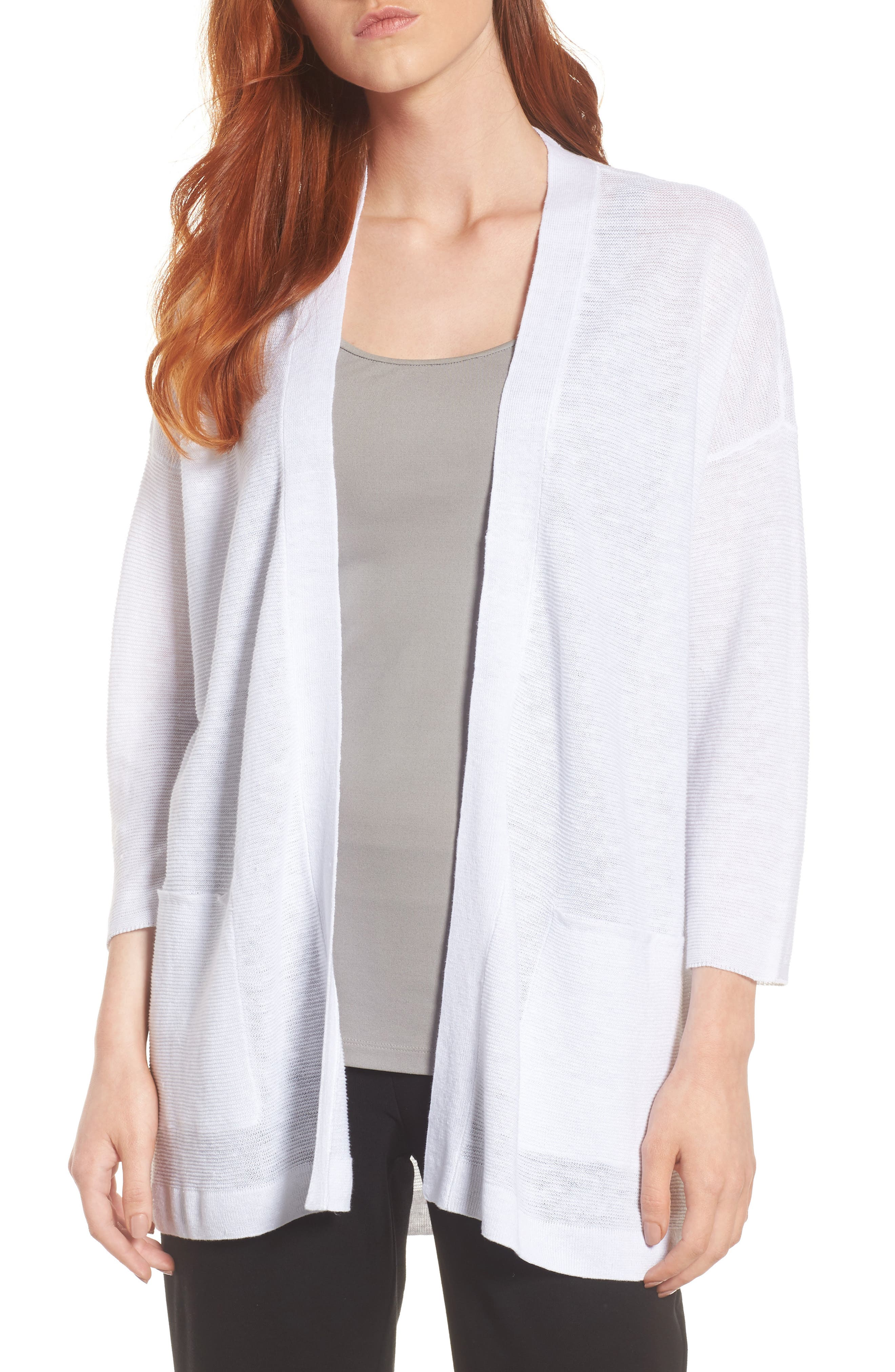 Boxy Organic Linen Cardigan,                         Main,                         color, White