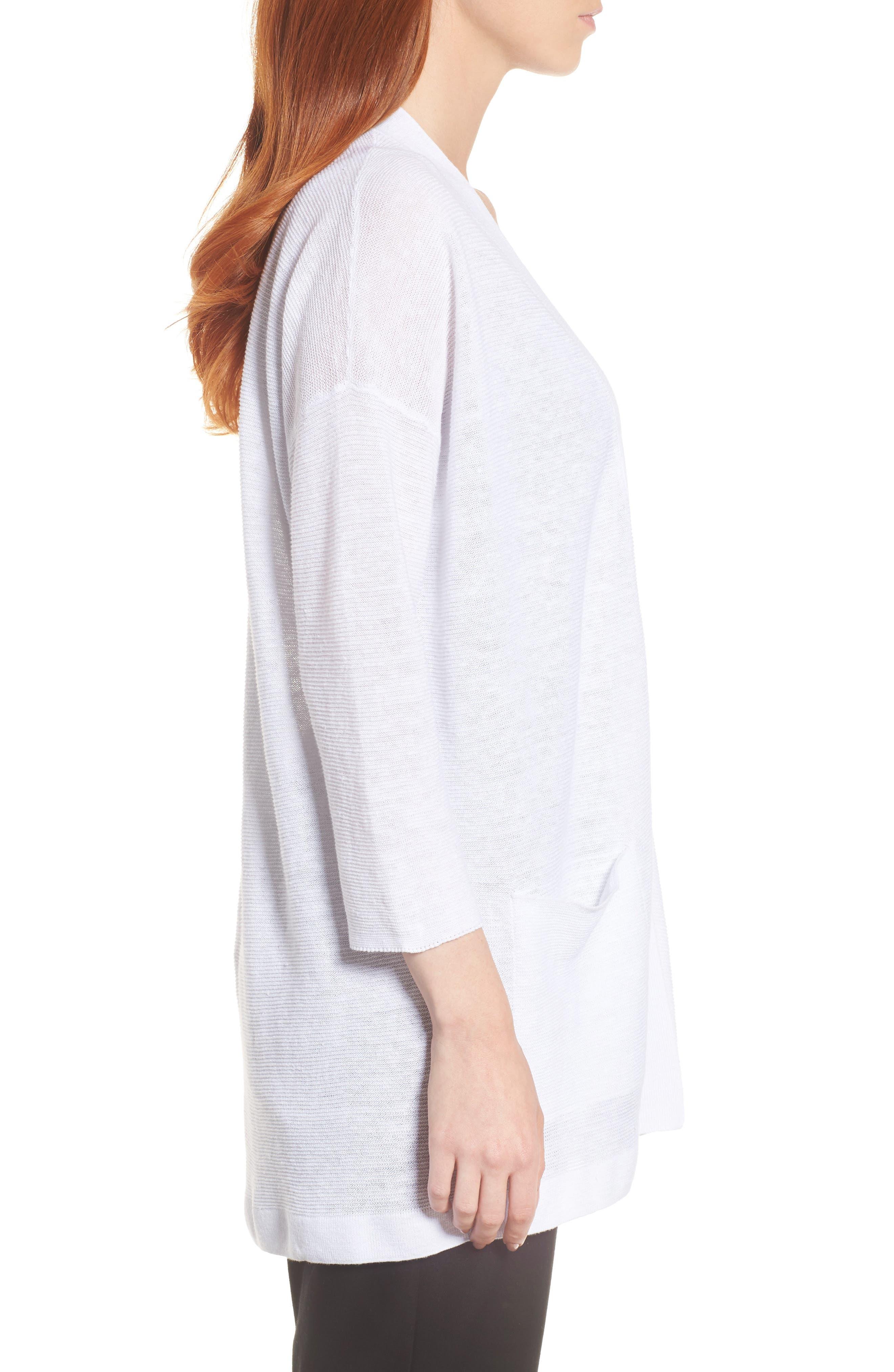 Boxy Organic Linen Cardigan,                             Alternate thumbnail 3, color,                             White