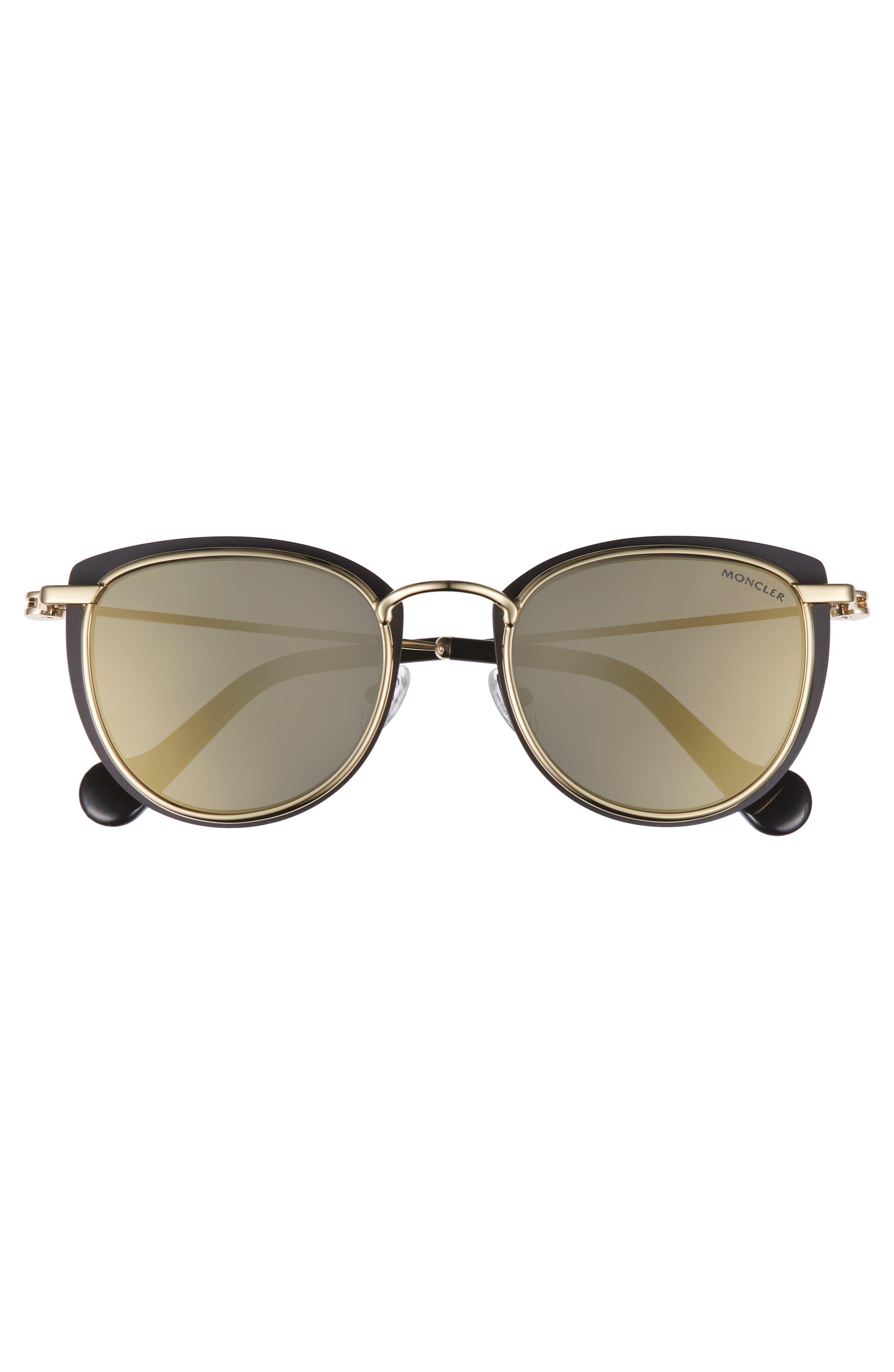 50mm Mirrored Geometric Sunglasses,                             Alternate thumbnail 3, color,                             Black/ Pale Gold/ Smoke/ Gold