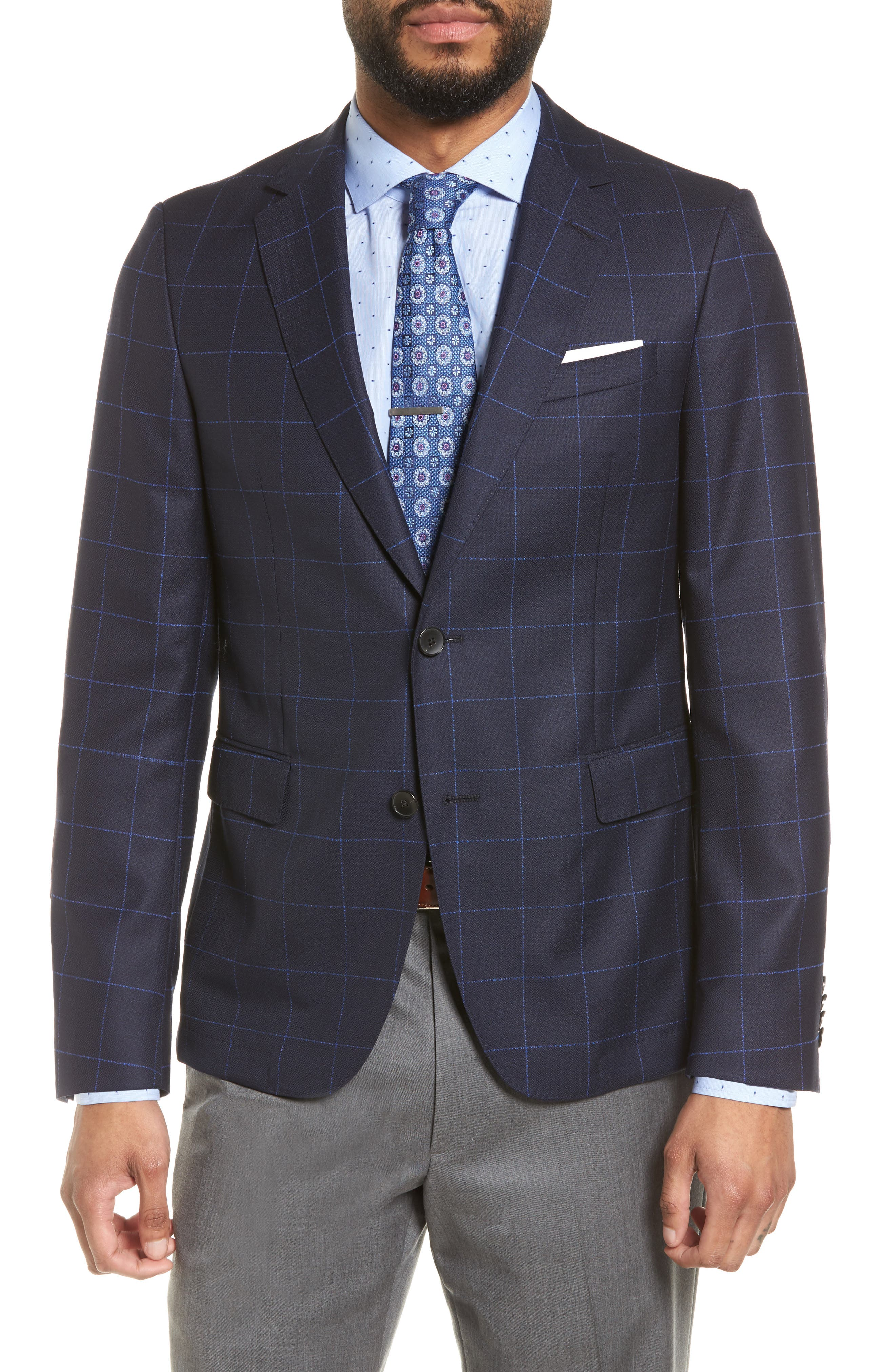 Nordstrom x BOSS Nobis Trim Fit Check Wool Sport Coat,                         Main,                         color, Navy