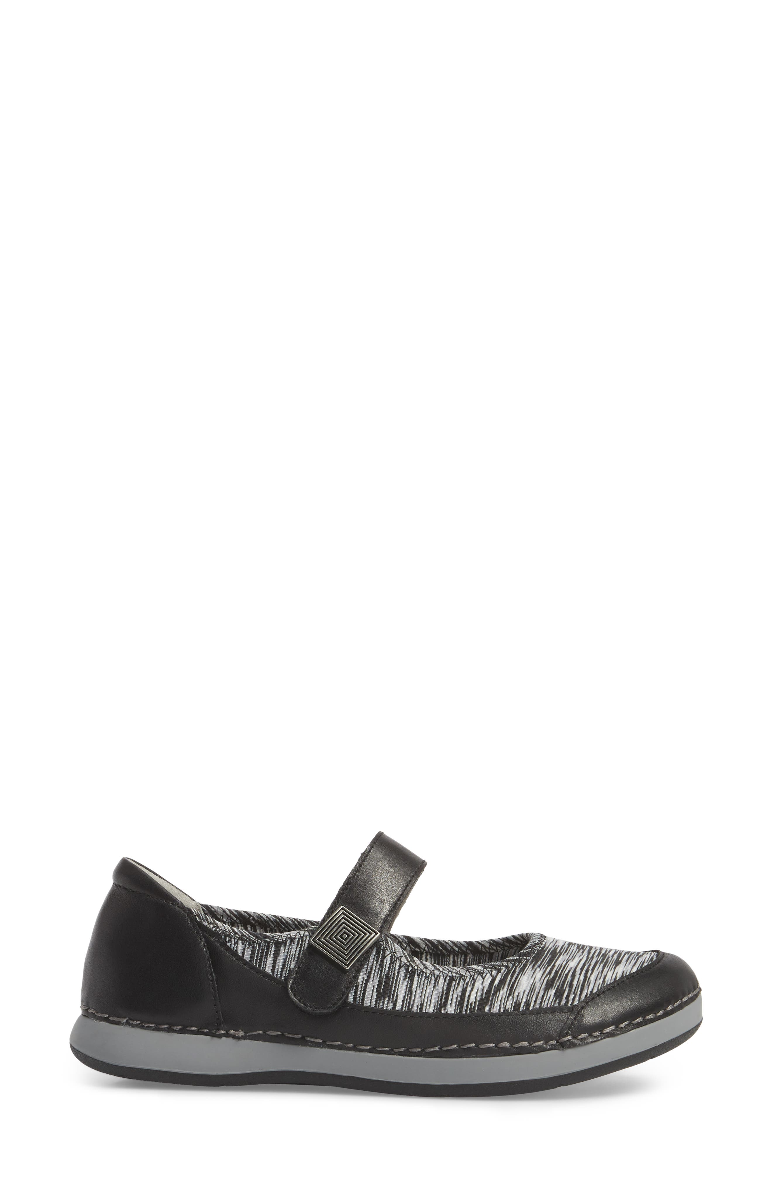 Gem Mary Jane Flat,                             Alternate thumbnail 3, color,                             Black Leather