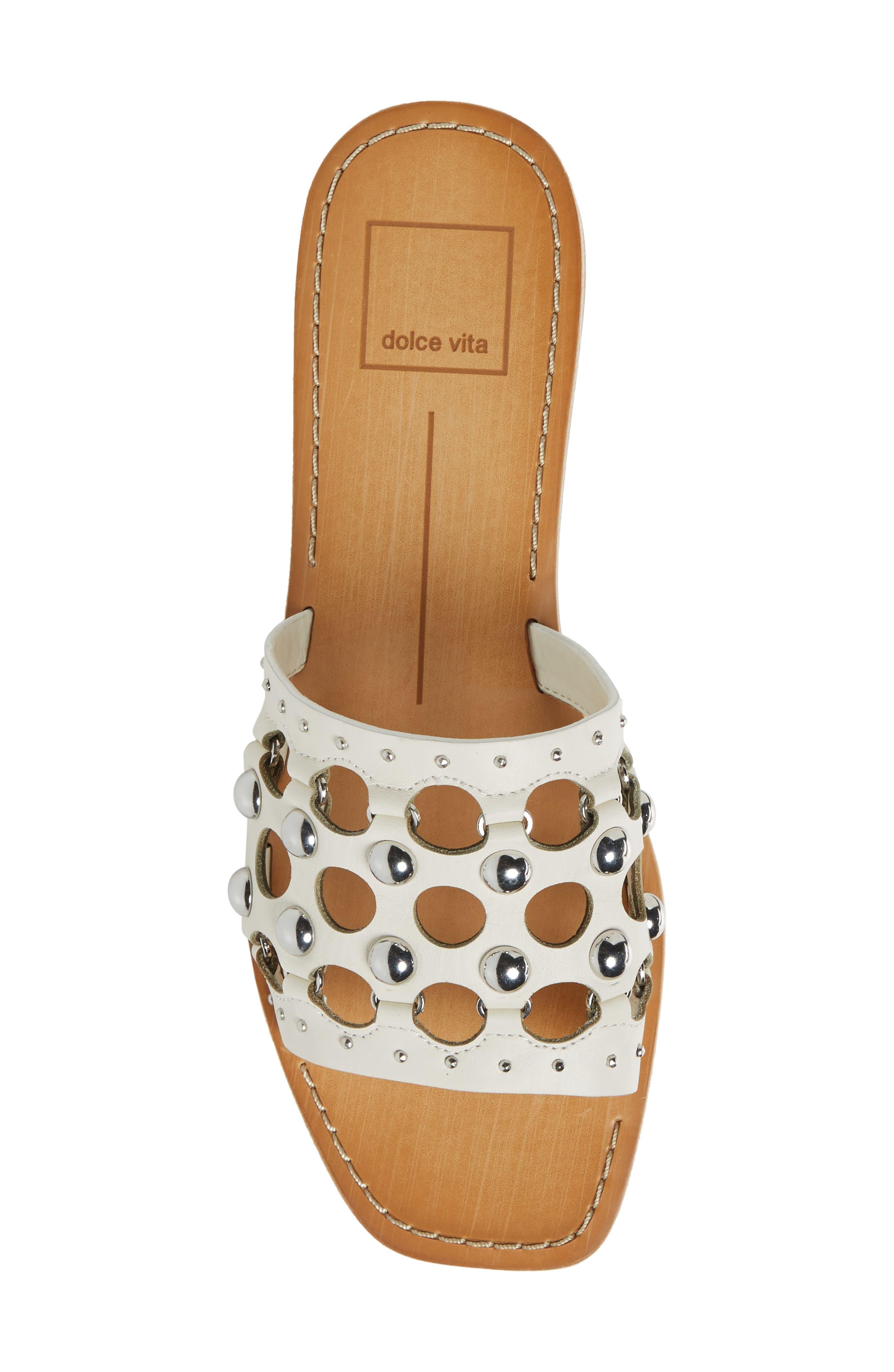 Celita Perforated Studded Slide Sandal,                             Alternate thumbnail 5, color,                             White