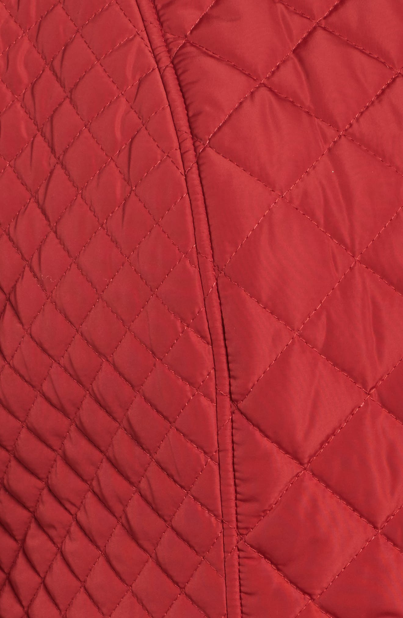 Print Collar Quilted Jacket,                             Alternate thumbnail 5, color,                             Tomato Red