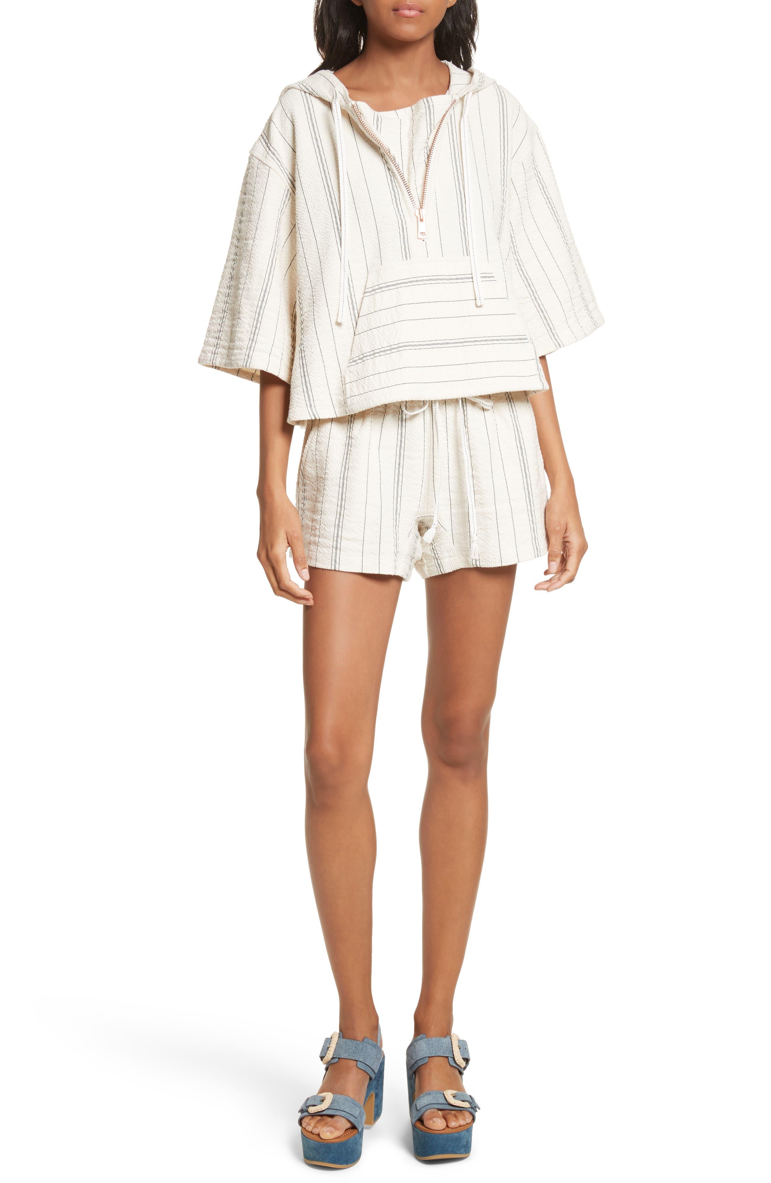 Stripe Shorts,                             Alternate thumbnail 5, color,                             White/ Black