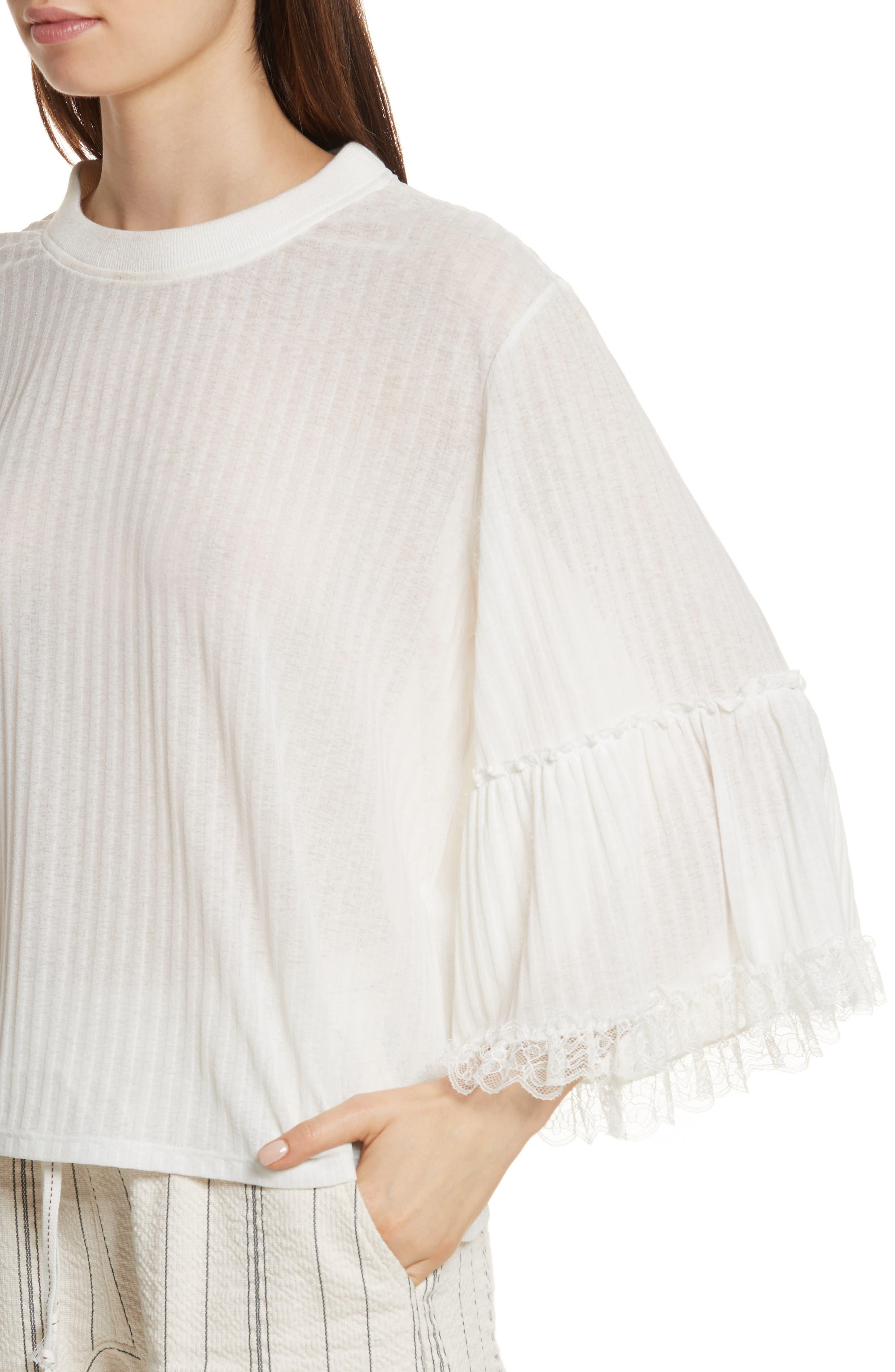 Lace Trim Top,                             Alternate thumbnail 4, color,                             White