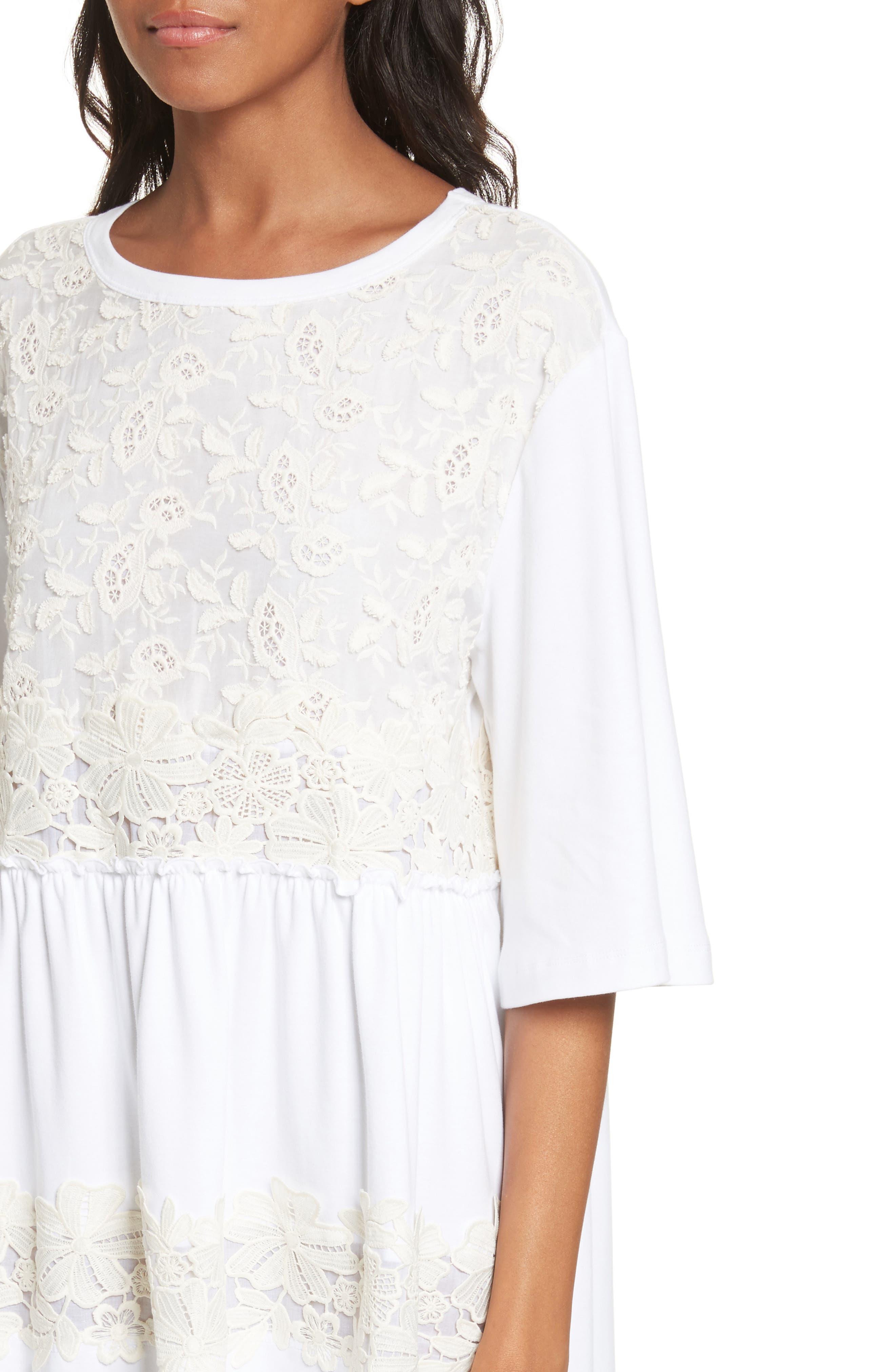 Crochet Panel Dress,                             Alternate thumbnail 4, color,                             White