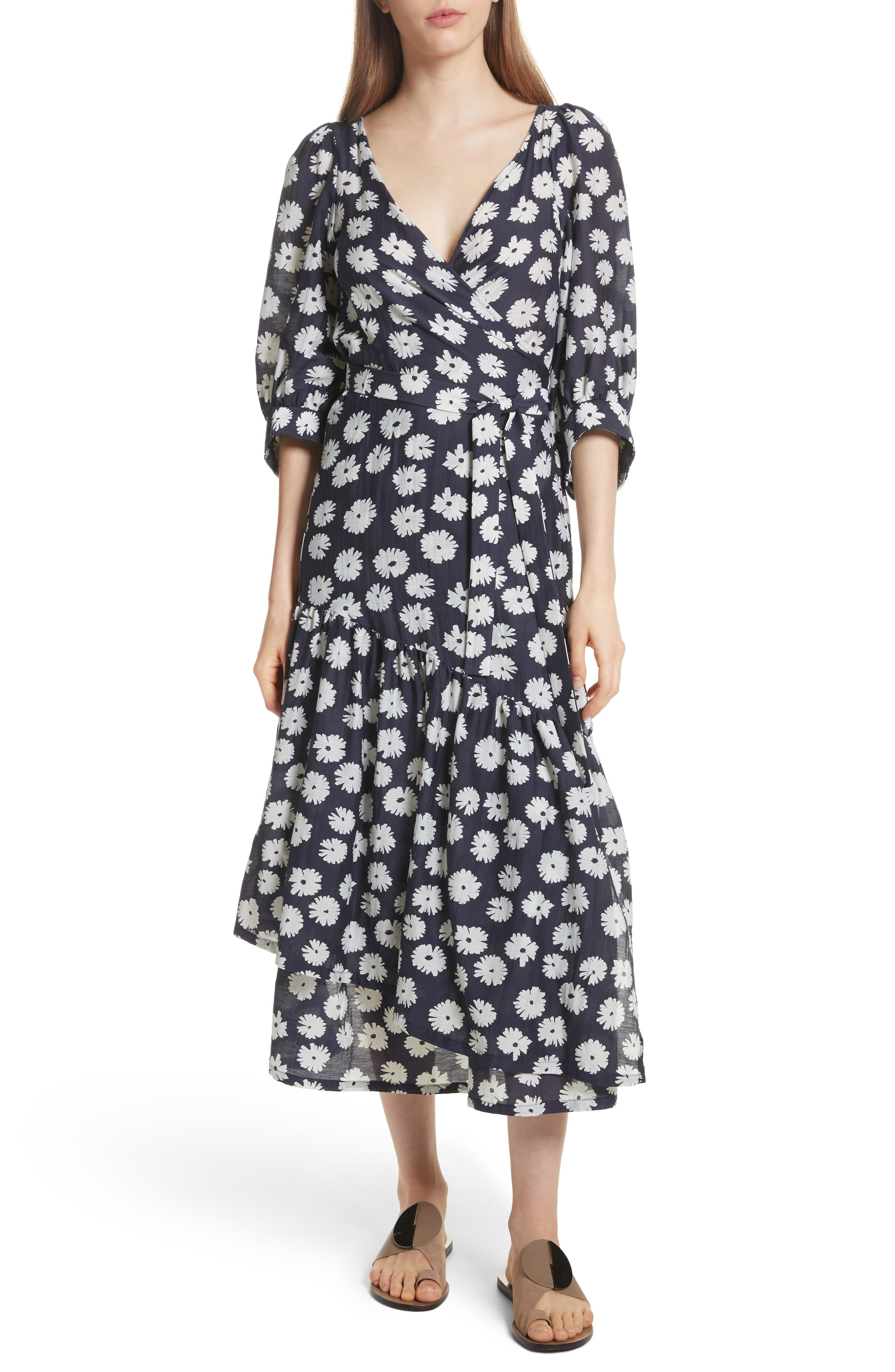 Bougainvillea Wrap Dress,                         Main,                         color, Cypress Print