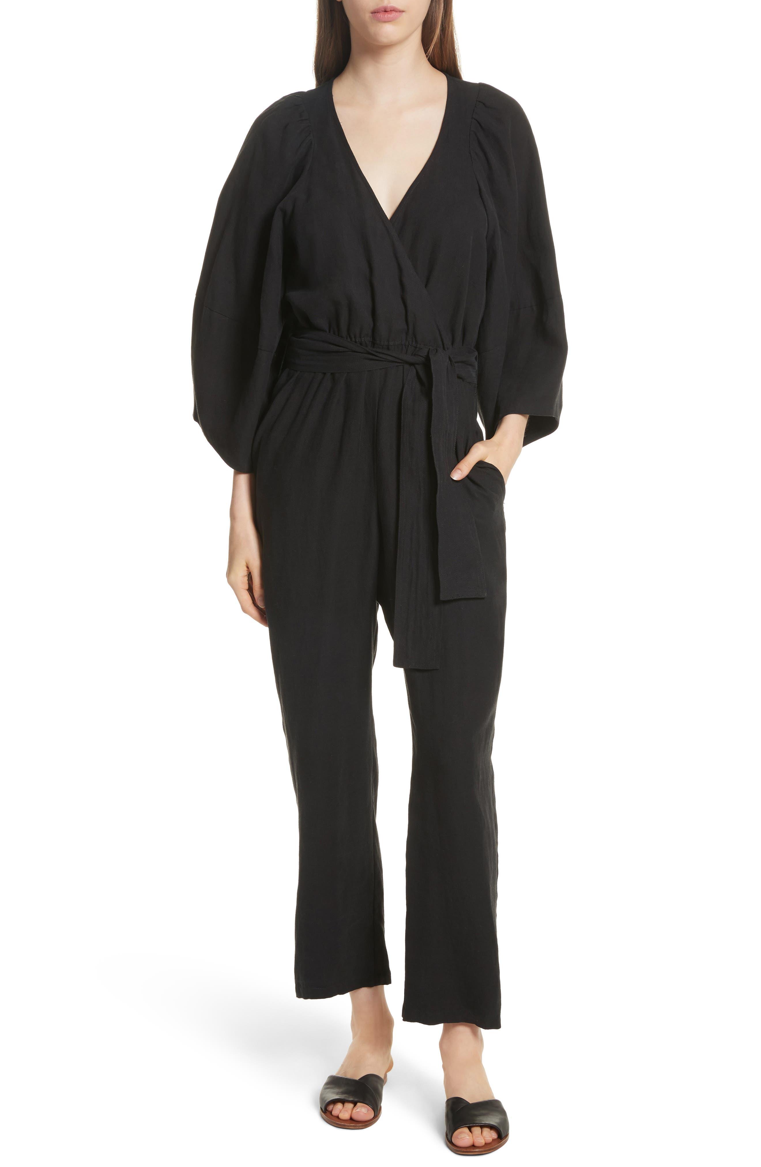 Meru Wrap Front Jumpsuit,                             Main thumbnail 1, color,                             Black
