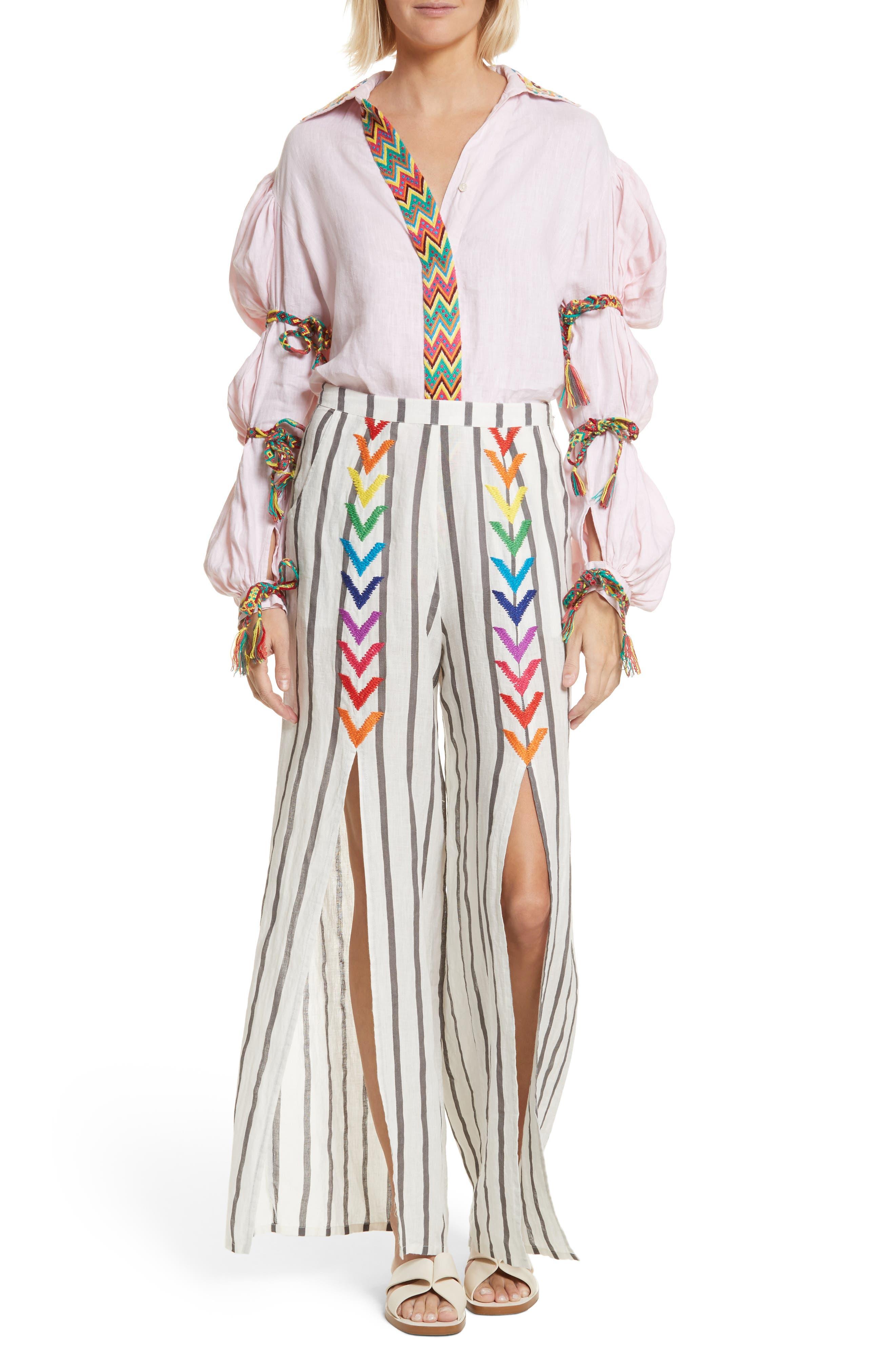 Lillian Bubble Sleeve Linen Shirt,                             Alternate thumbnail 7, color,                             Baby Pink