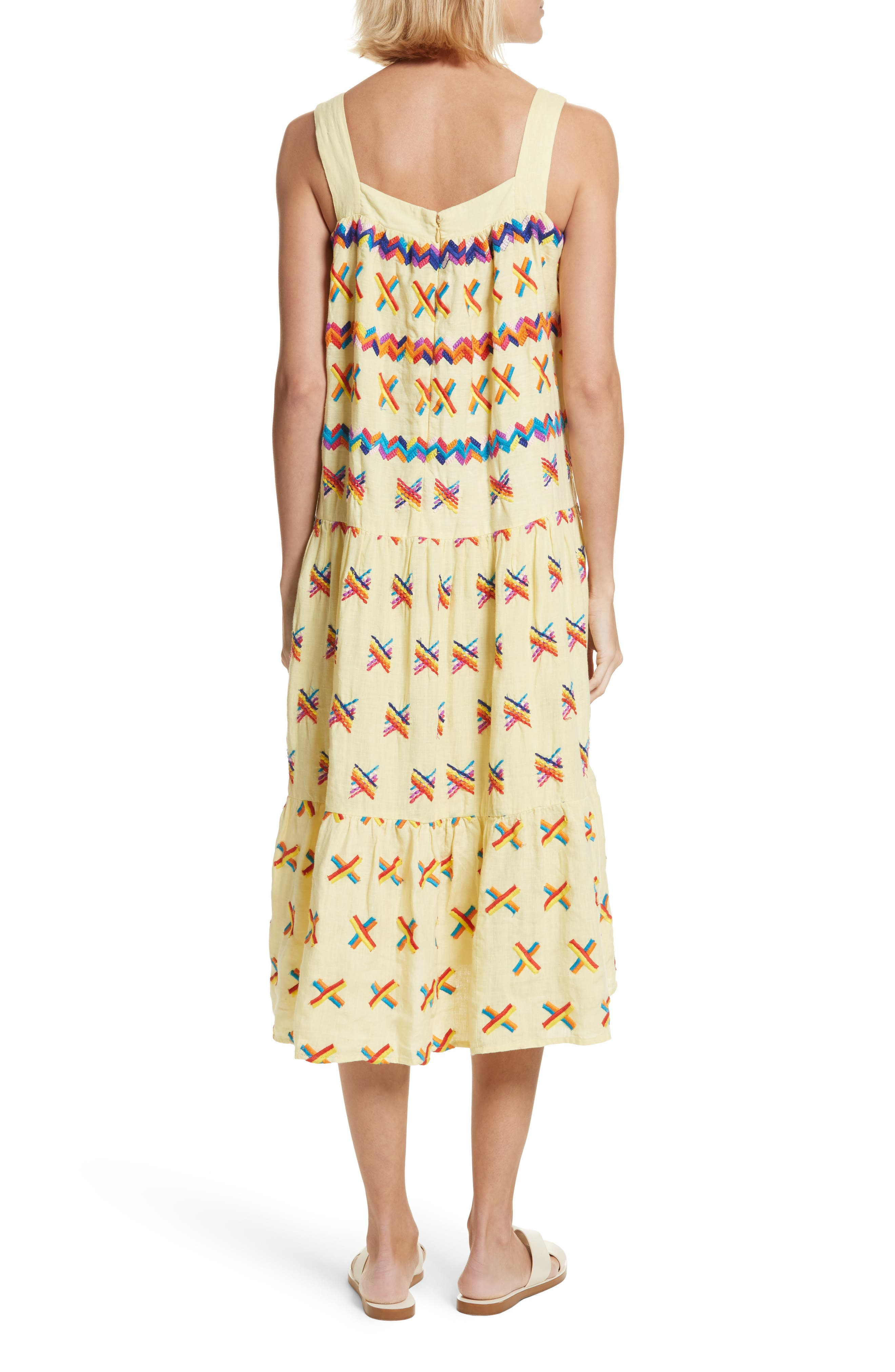 Remi Embroidered Midi Dress,                             Alternate thumbnail 2, color,                             Baby Yellow