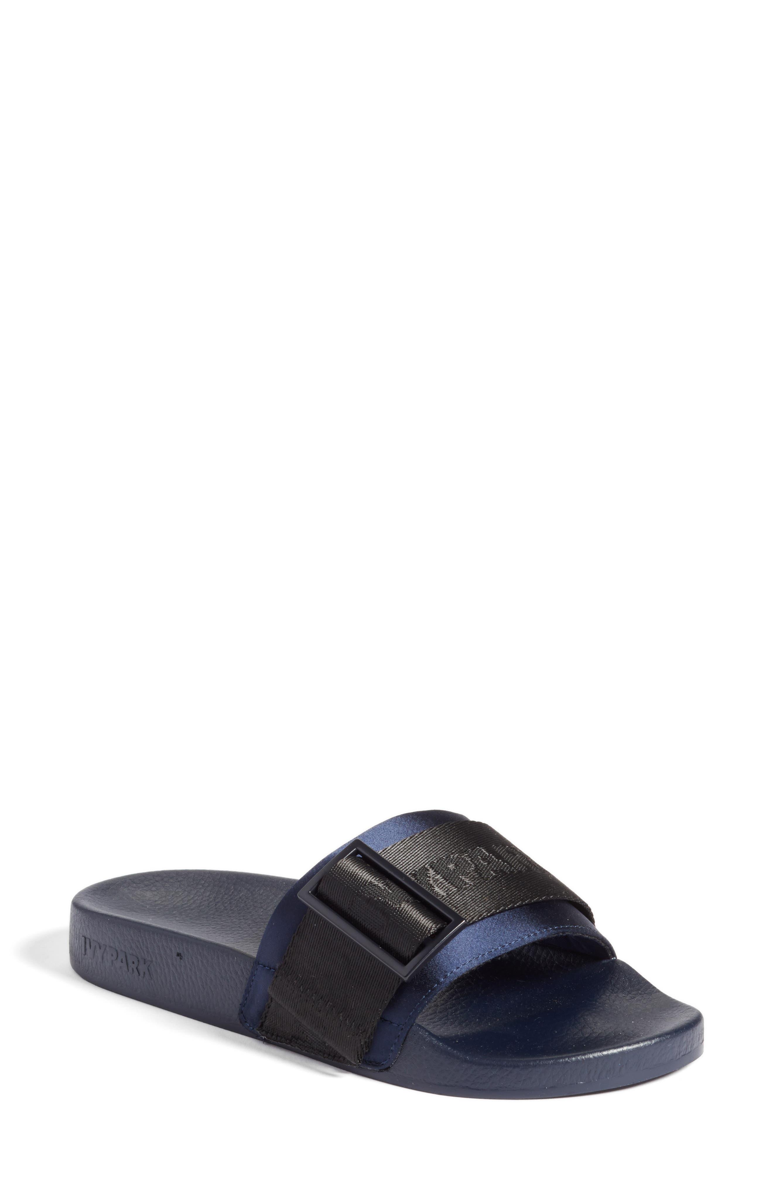 Hi-Shine Strap Slide Sandal,                             Main thumbnail 1, color,                             Ink
