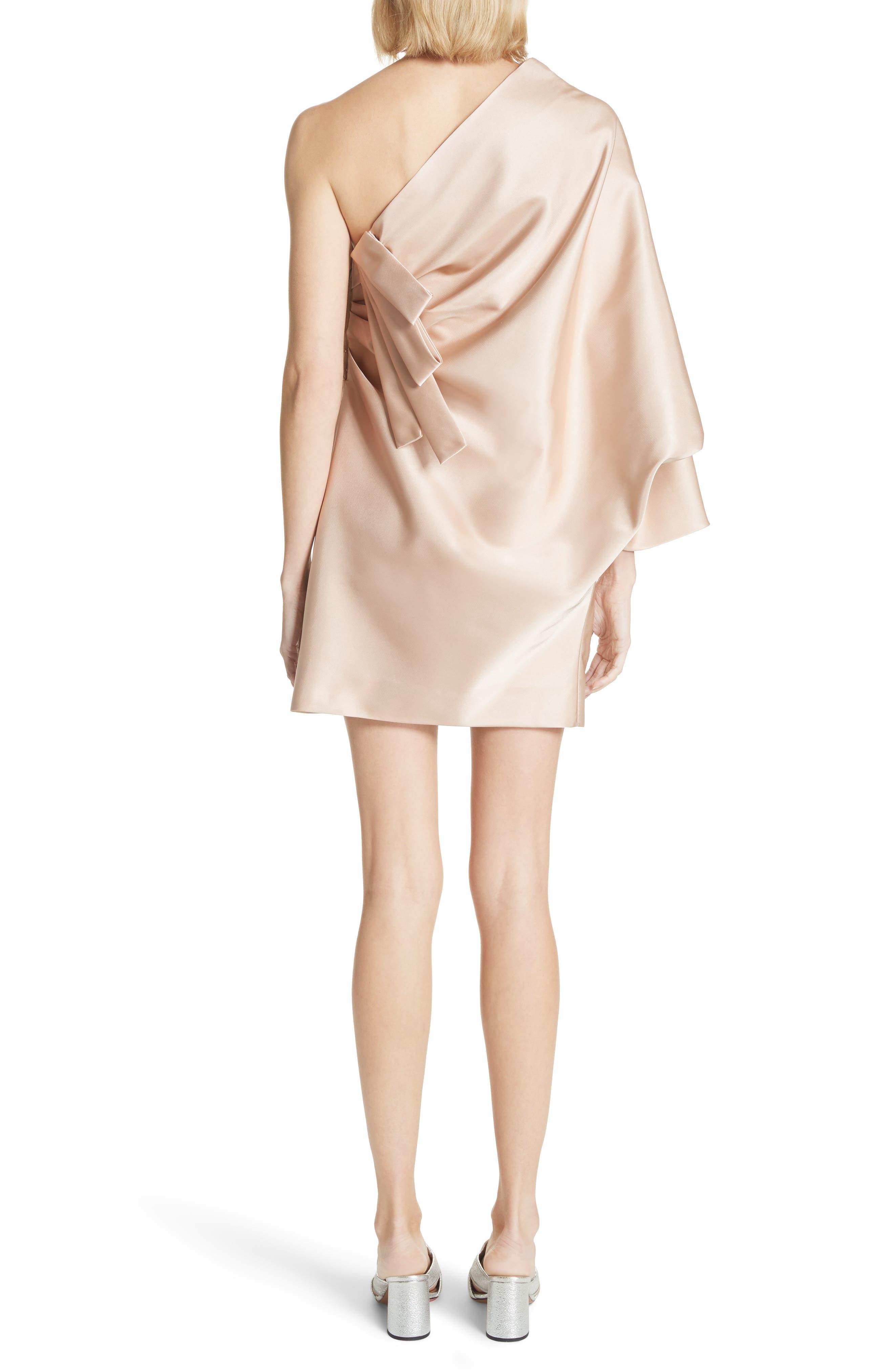 One-Shoulder Gathered Dress,                             Alternate thumbnail 2, color,                             Champagne