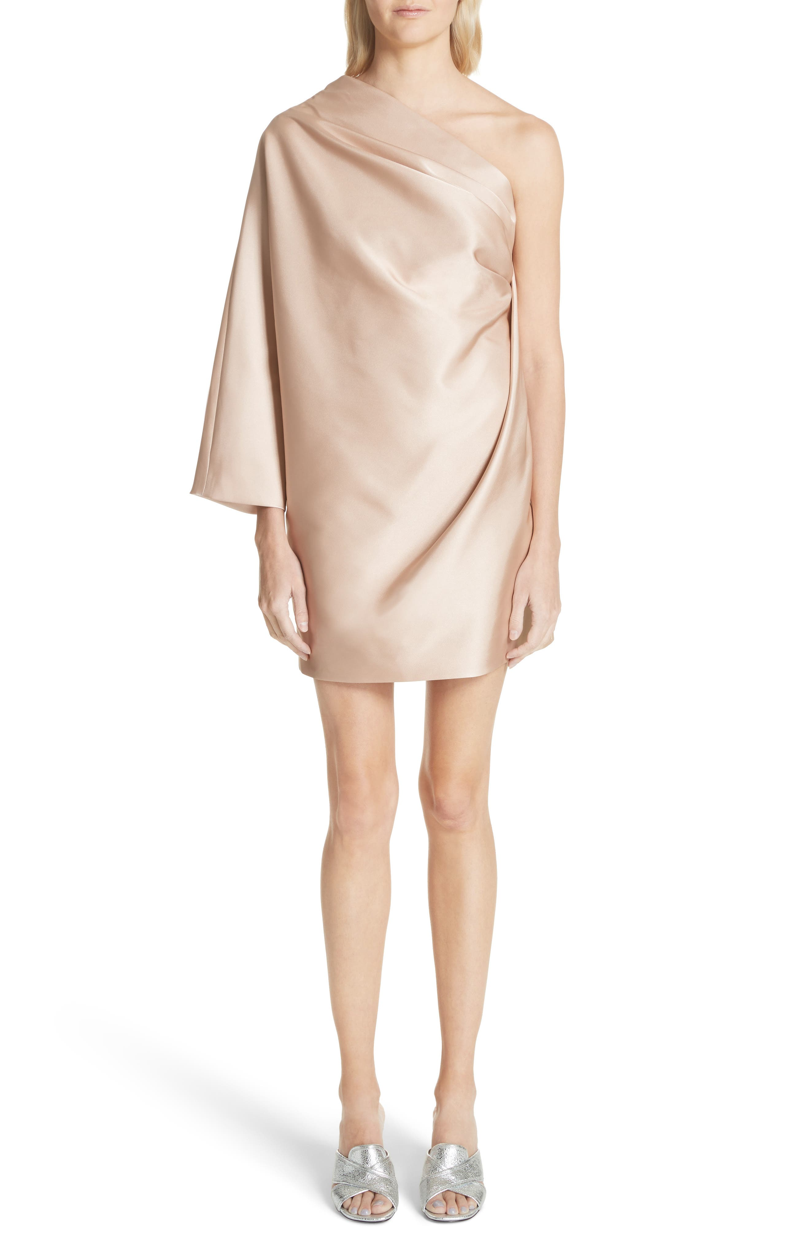 One-Shoulder Gathered Dress,                             Main thumbnail 1, color,                             Champagne