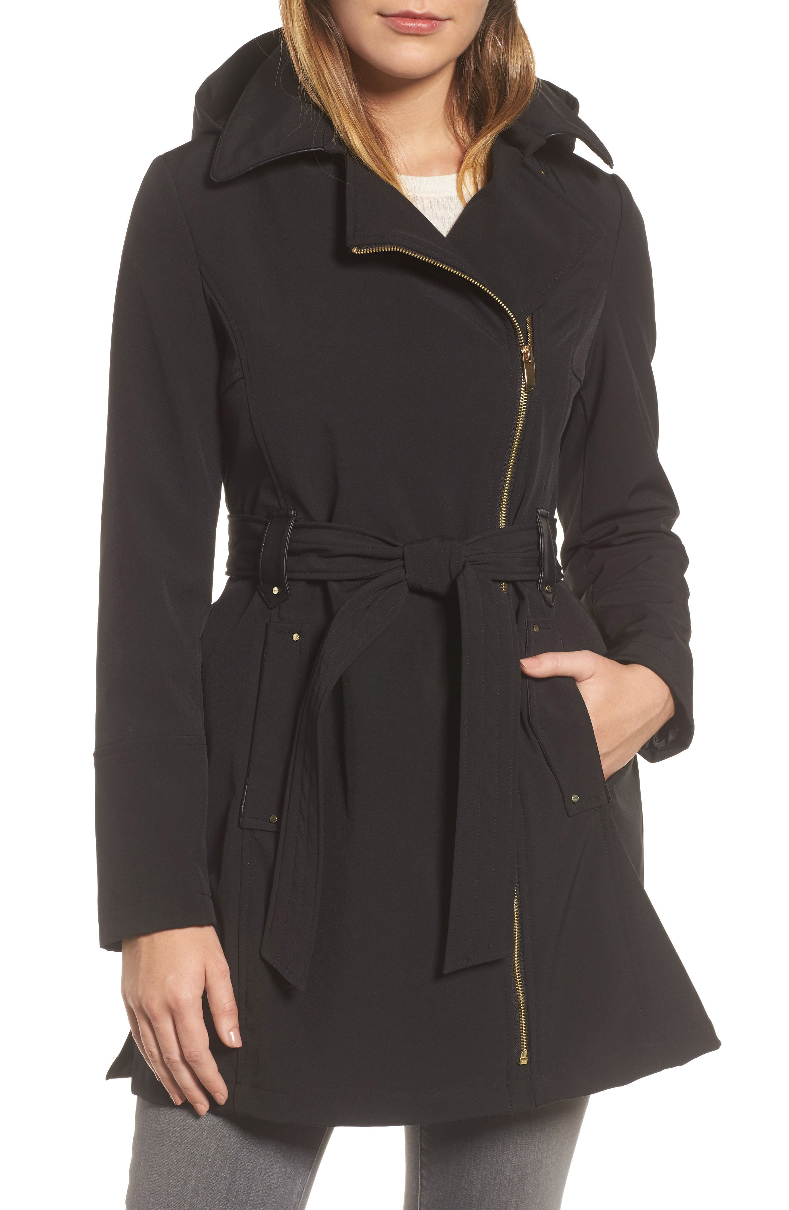 Belted Soft Shell Jacket,                             Main thumbnail 1, color,                             Black