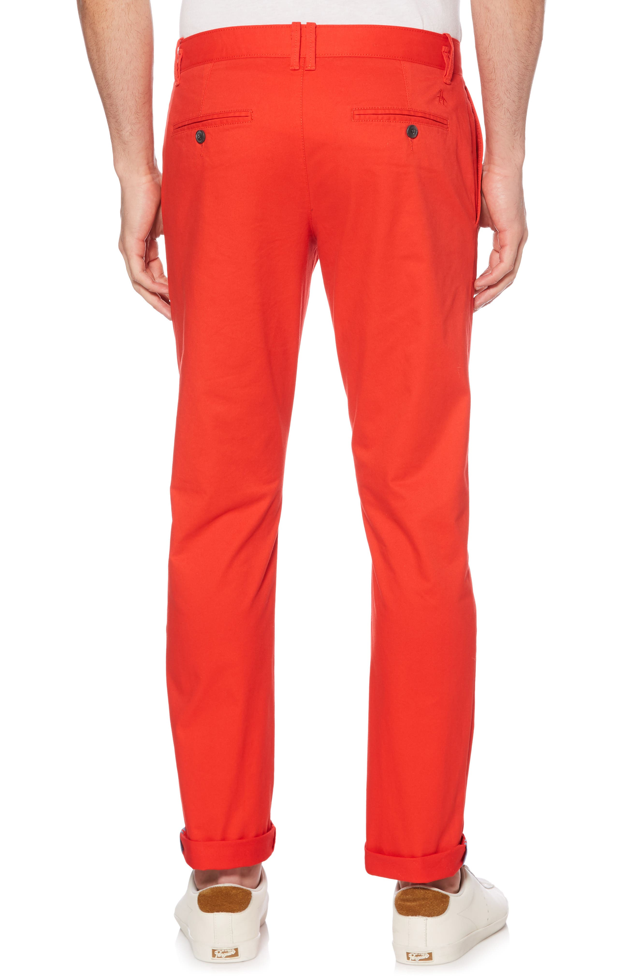 P55 Slim Stretch Chinos,                             Alternate thumbnail 2, color,                             Flame Scarlet