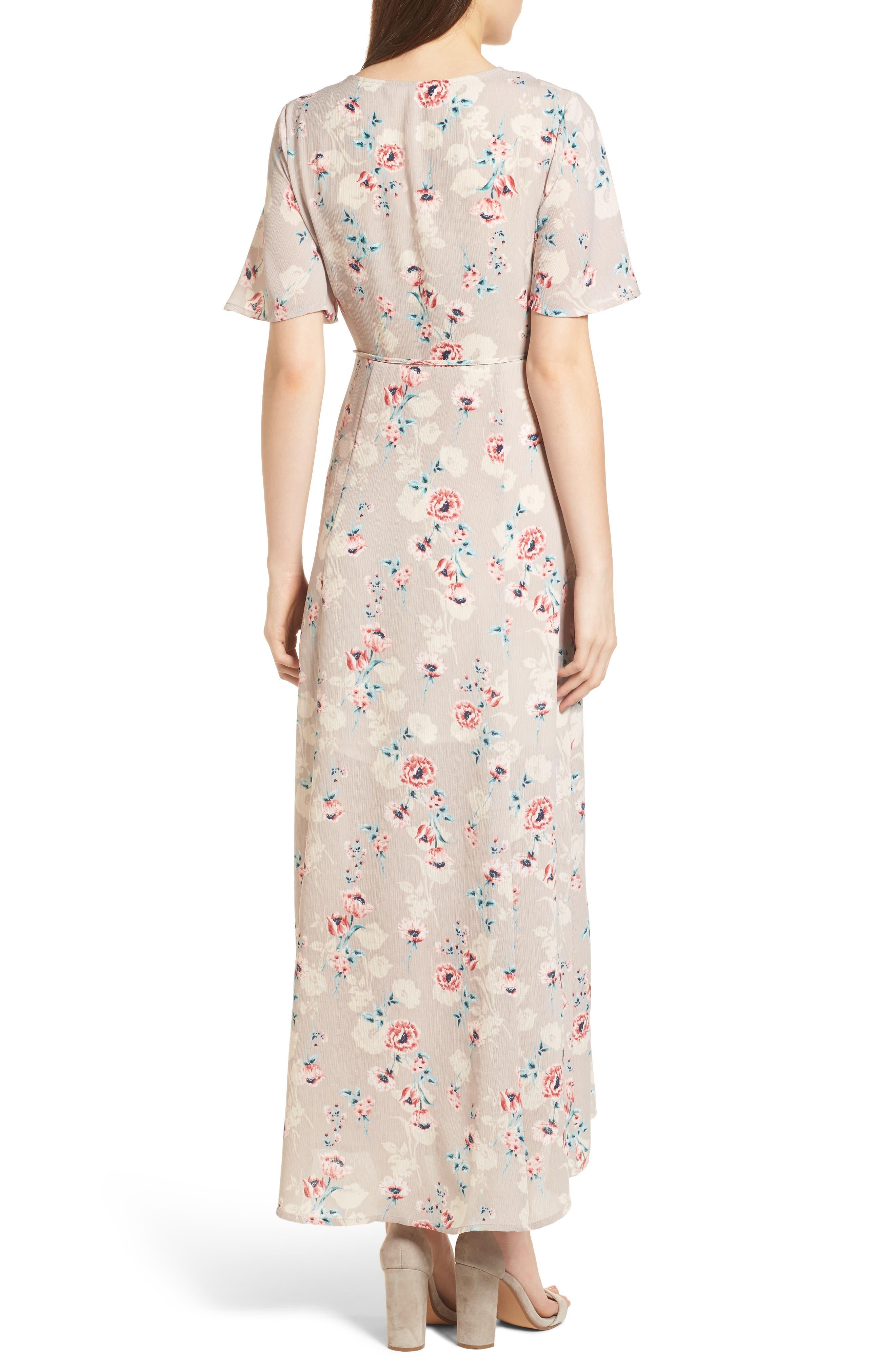 Floral Print Wrap Maxi Dress,                             Alternate thumbnail 2, color,                             Taupe-Rose Floral