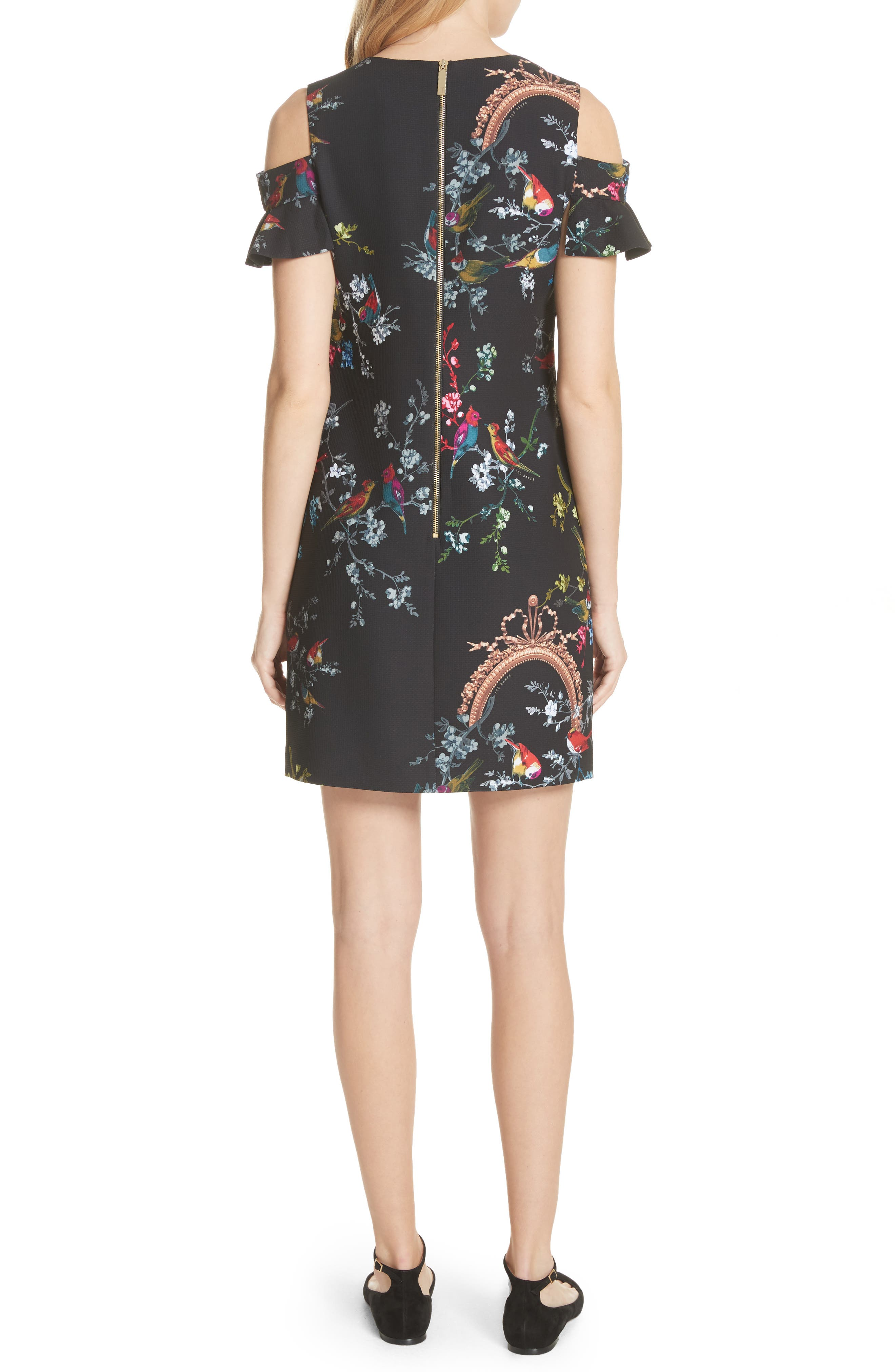 Opulent Fauna Print Cold Shoulder Dress,                             Alternate thumbnail 2, color,                             Black