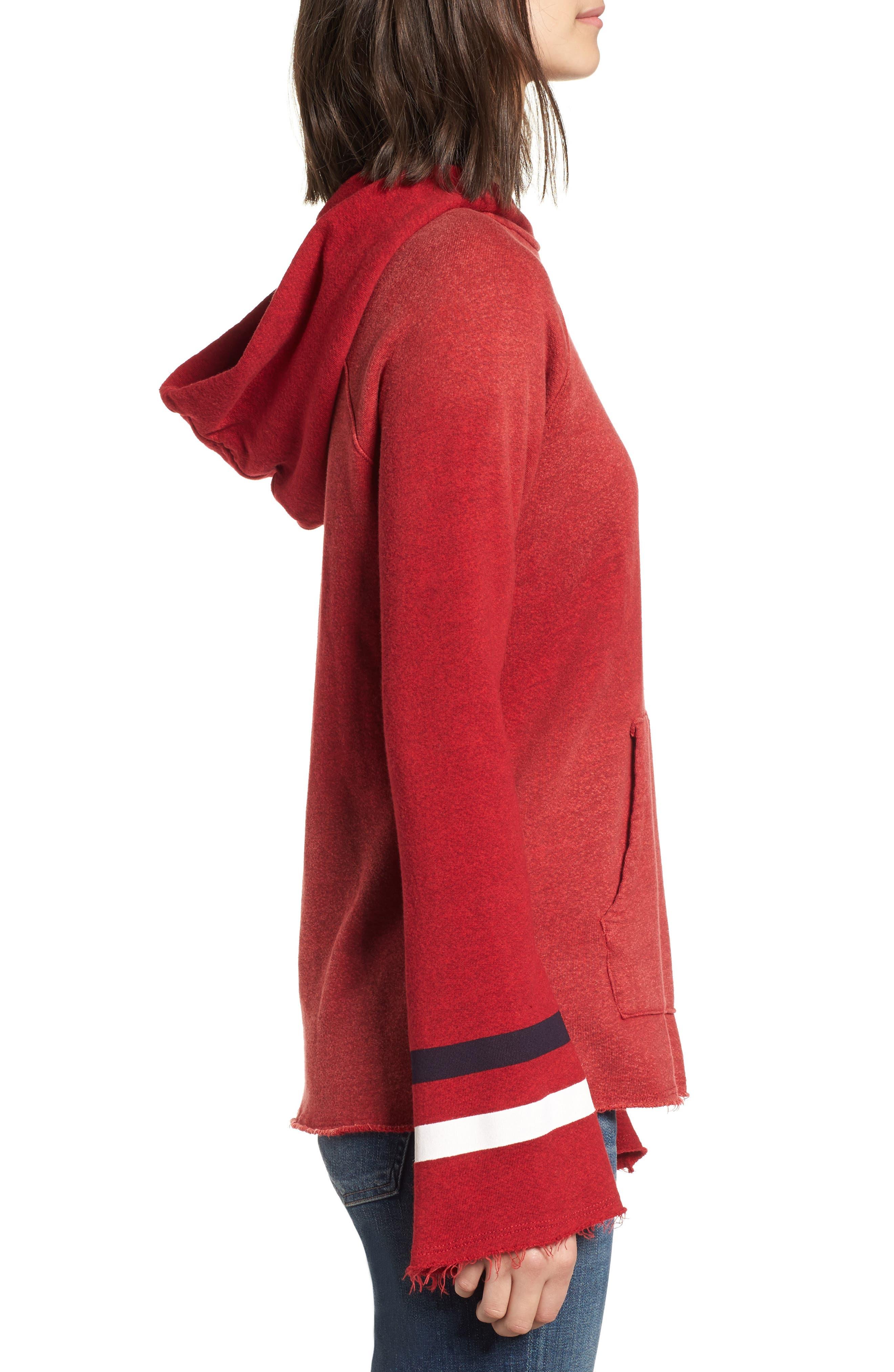 Bell Sleeve Terry Hoodie,                             Alternate thumbnail 3, color,                             Sun Faded Crimson
