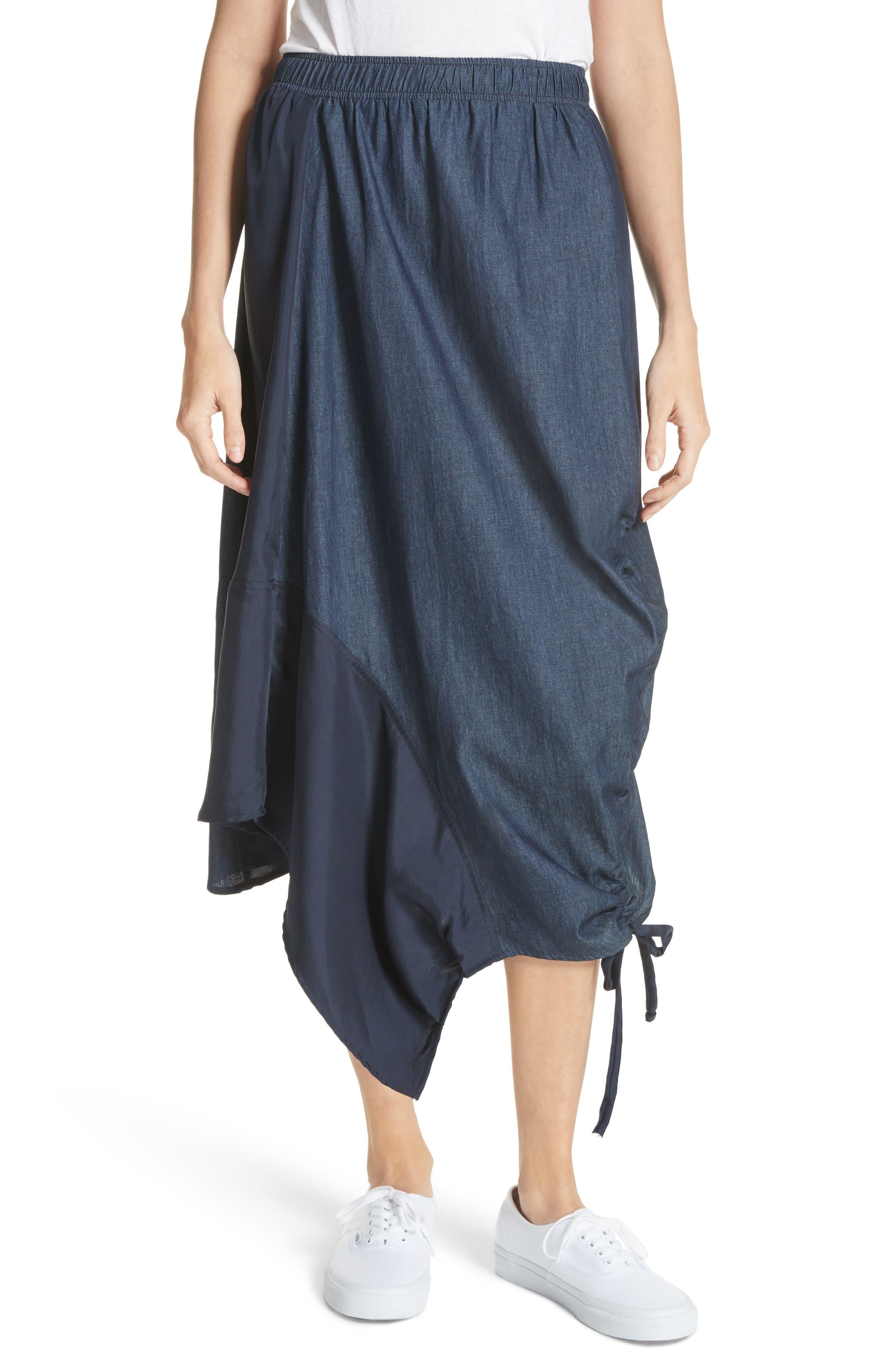 Asymmetrical Mixed Media Skirt,                         Main,                         color, Navy