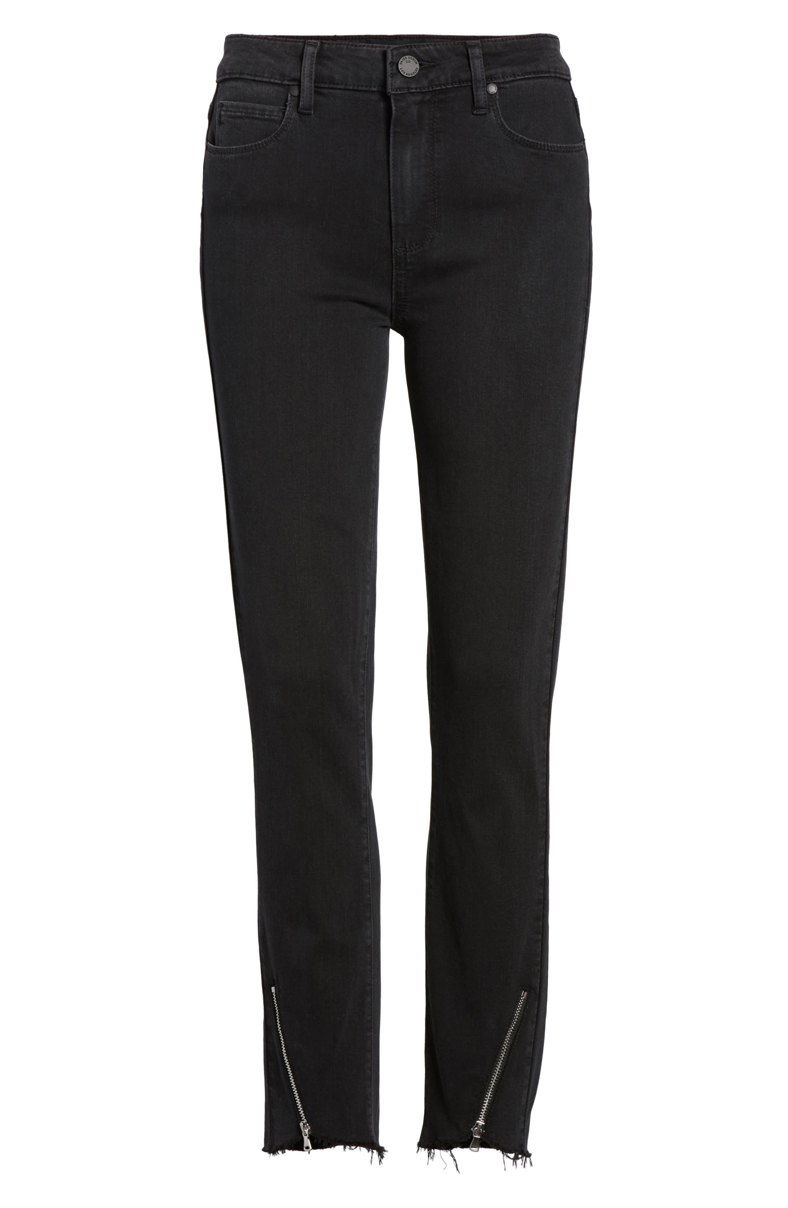 Transcend - Hoxton High Waist Ultra Skinny Jeans,                             Alternate thumbnail 7, color,                             Black Fog