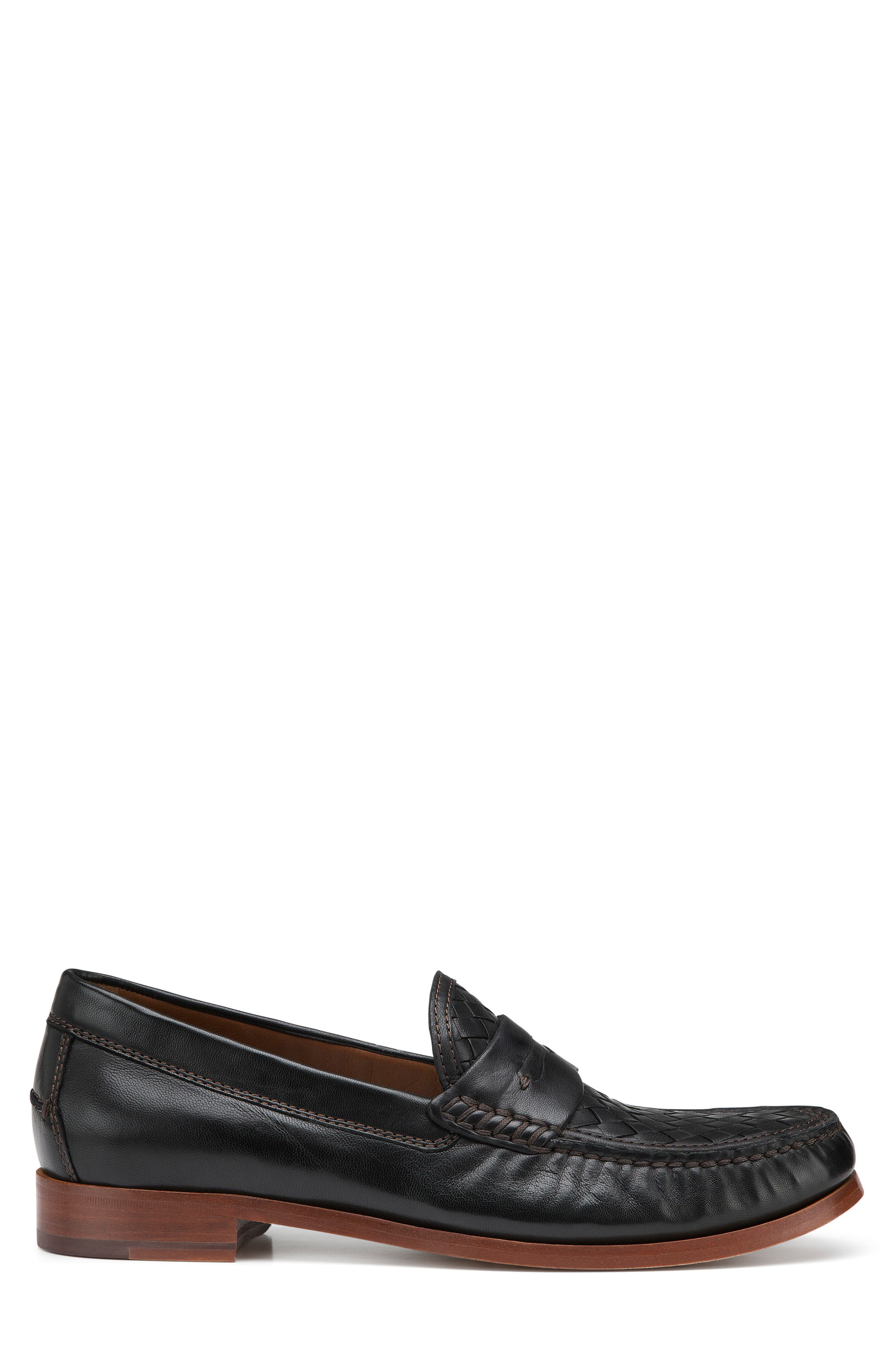 Slade Water Resistant Woven Penny Loafer,                             Alternate thumbnail 3, color,                             Black Leather