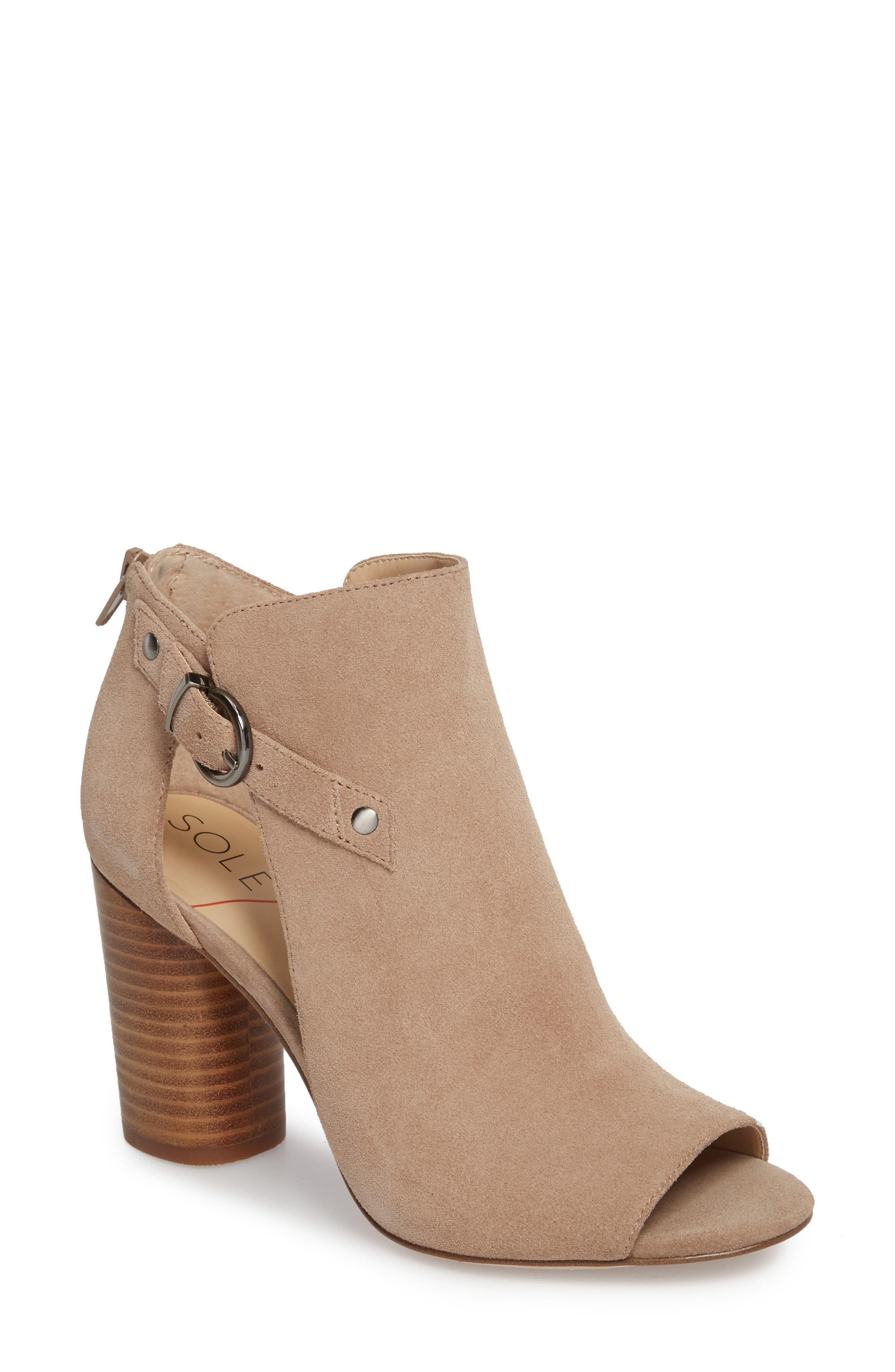 Sally Column Heel Sandal,                             Main thumbnail 1, color,                             Warm Taupe Cow Suede