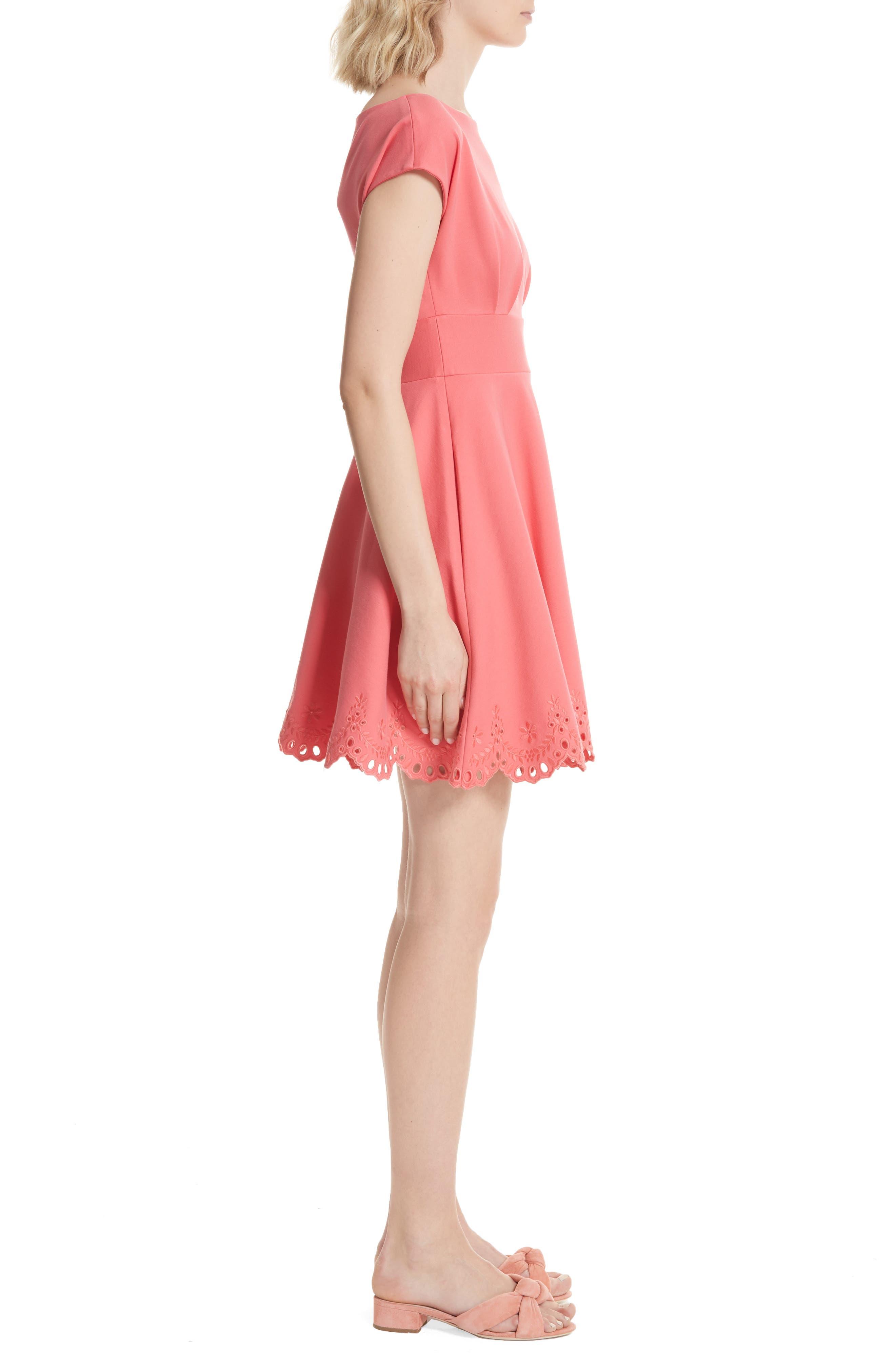 fiorella cutwork hem dress,                             Alternate thumbnail 3, color,                             Peach Sherbet