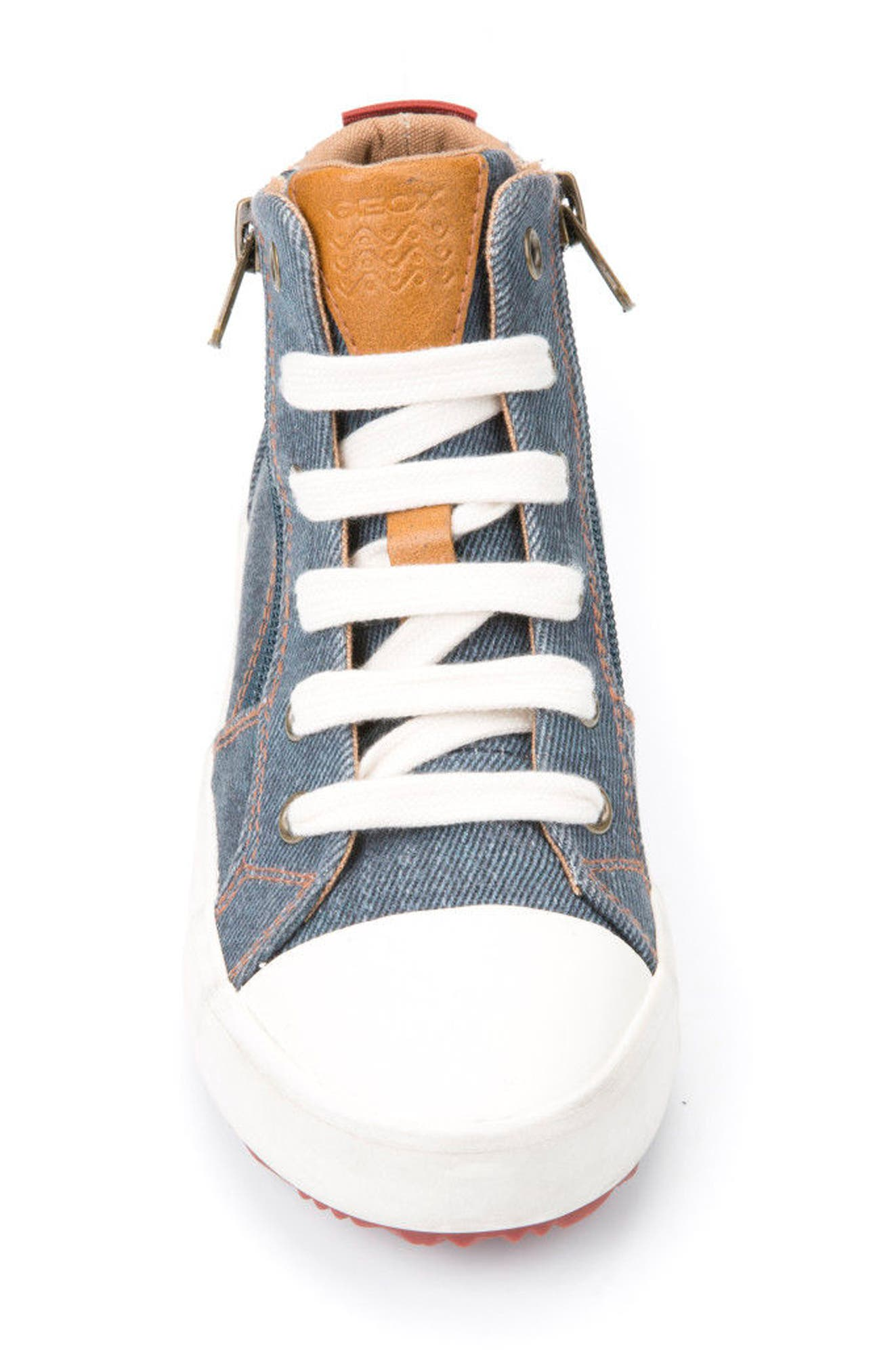 Alonisso High Top Sneaker,                             Alternate thumbnail 4, color,                             Blue/ Dark Red