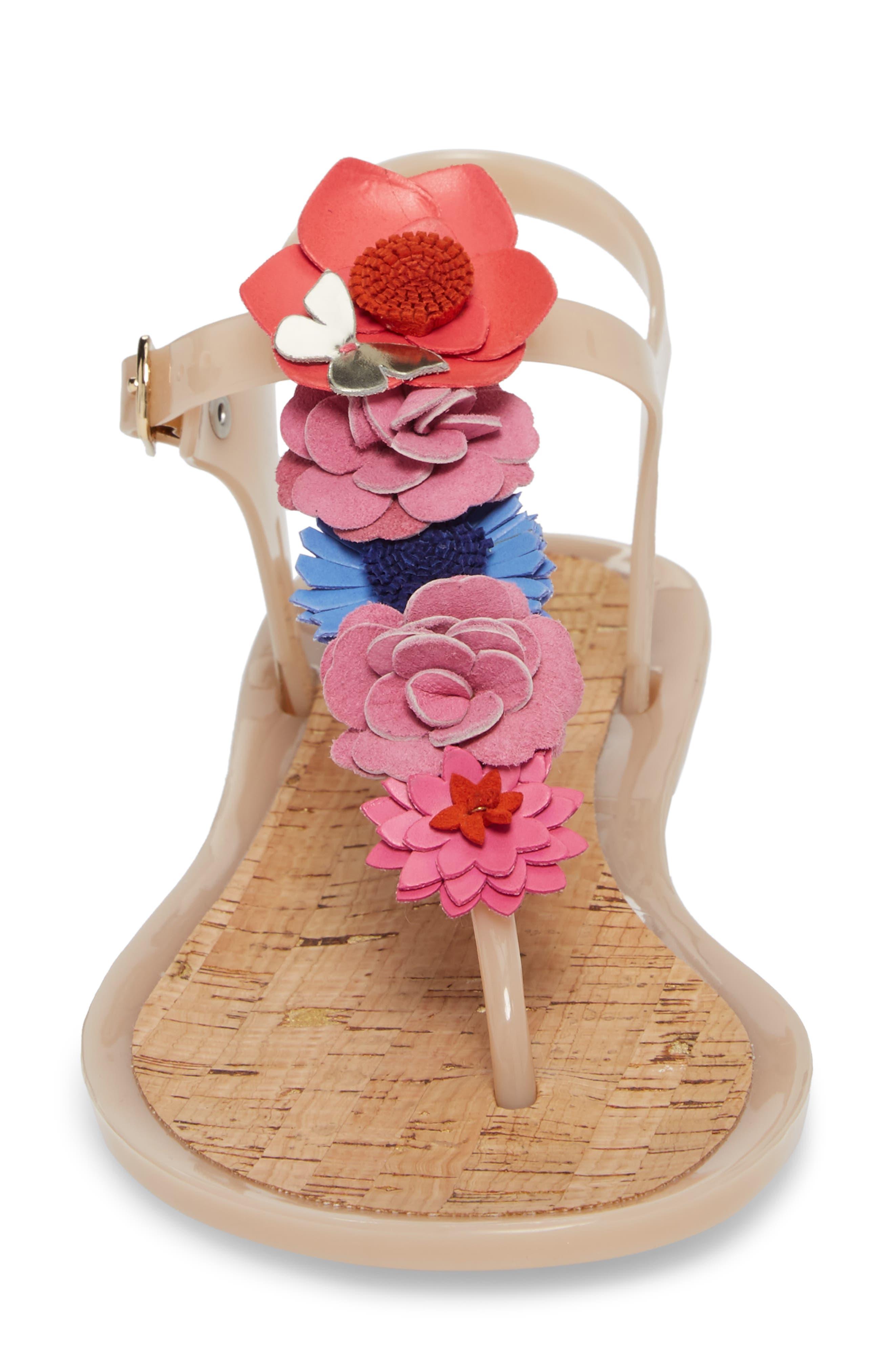 fatema floral embellished T-strap sandal,                             Alternate thumbnail 4, color,                             Dusty Mauve