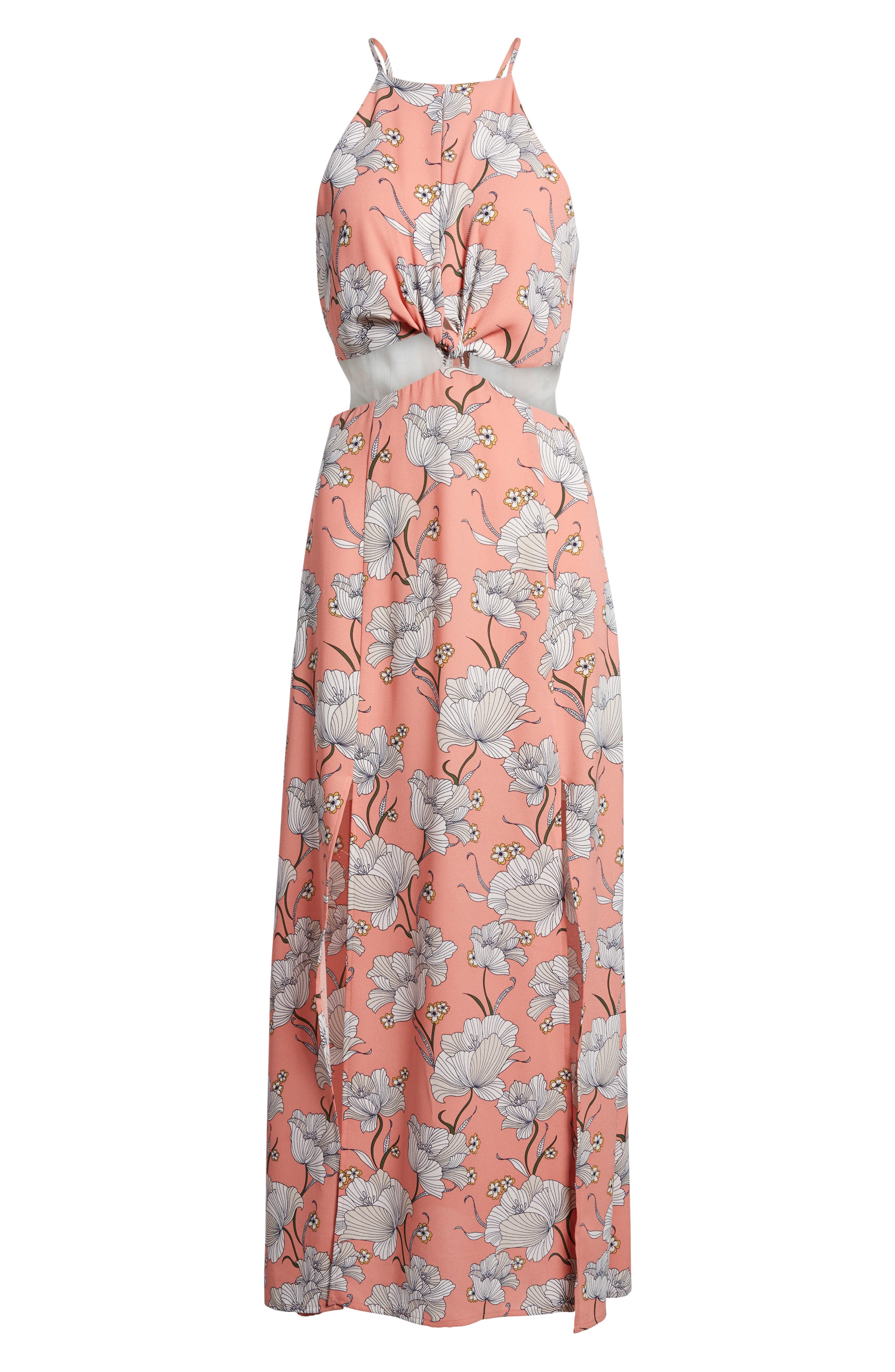 Floral Cutout Maxi Dress,                             Alternate thumbnail 6, color,                             Pink Floral