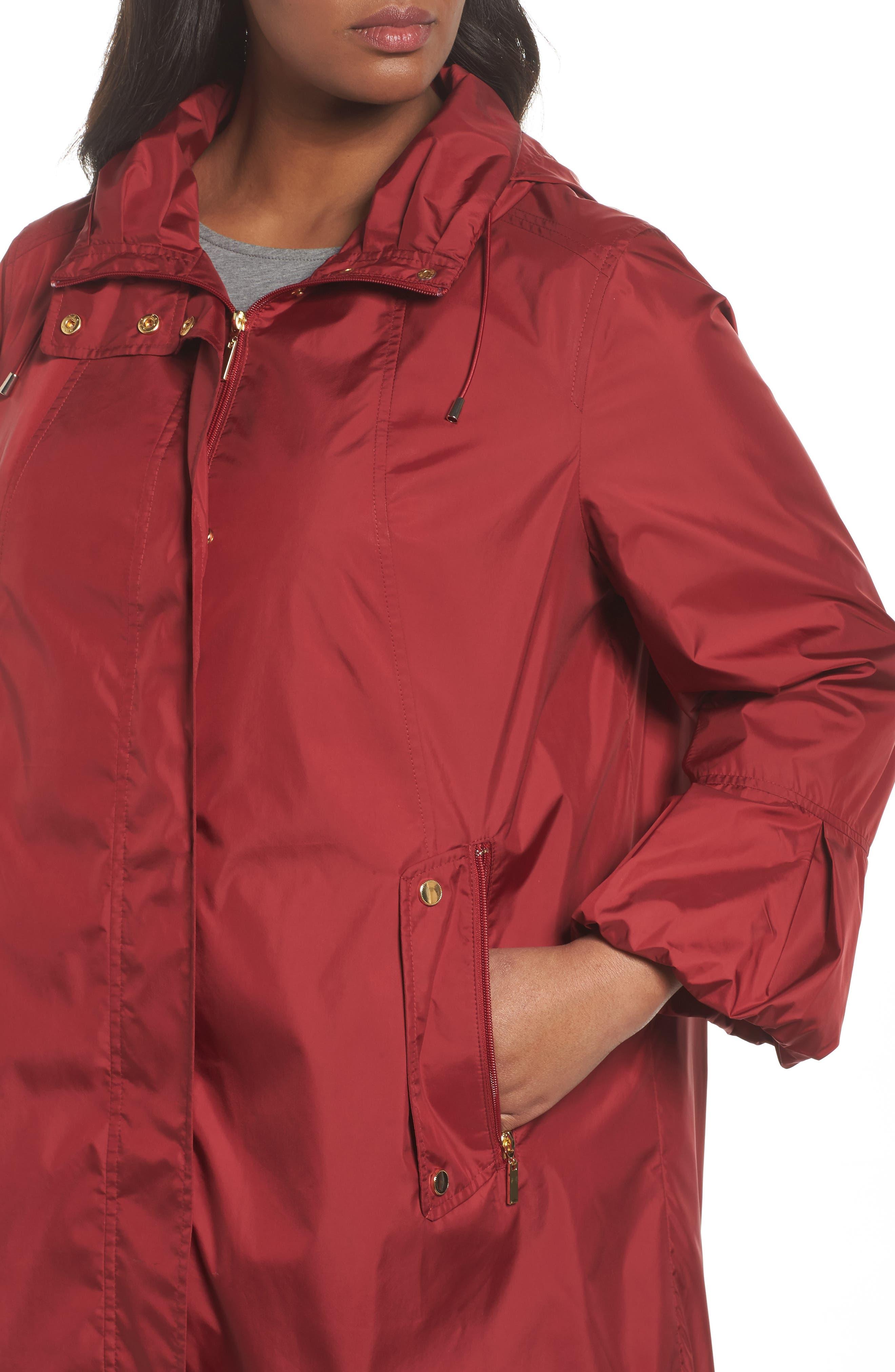 Flare Sleeve Packable Swing Jacket,                             Alternate thumbnail 4, color,                             Garnet