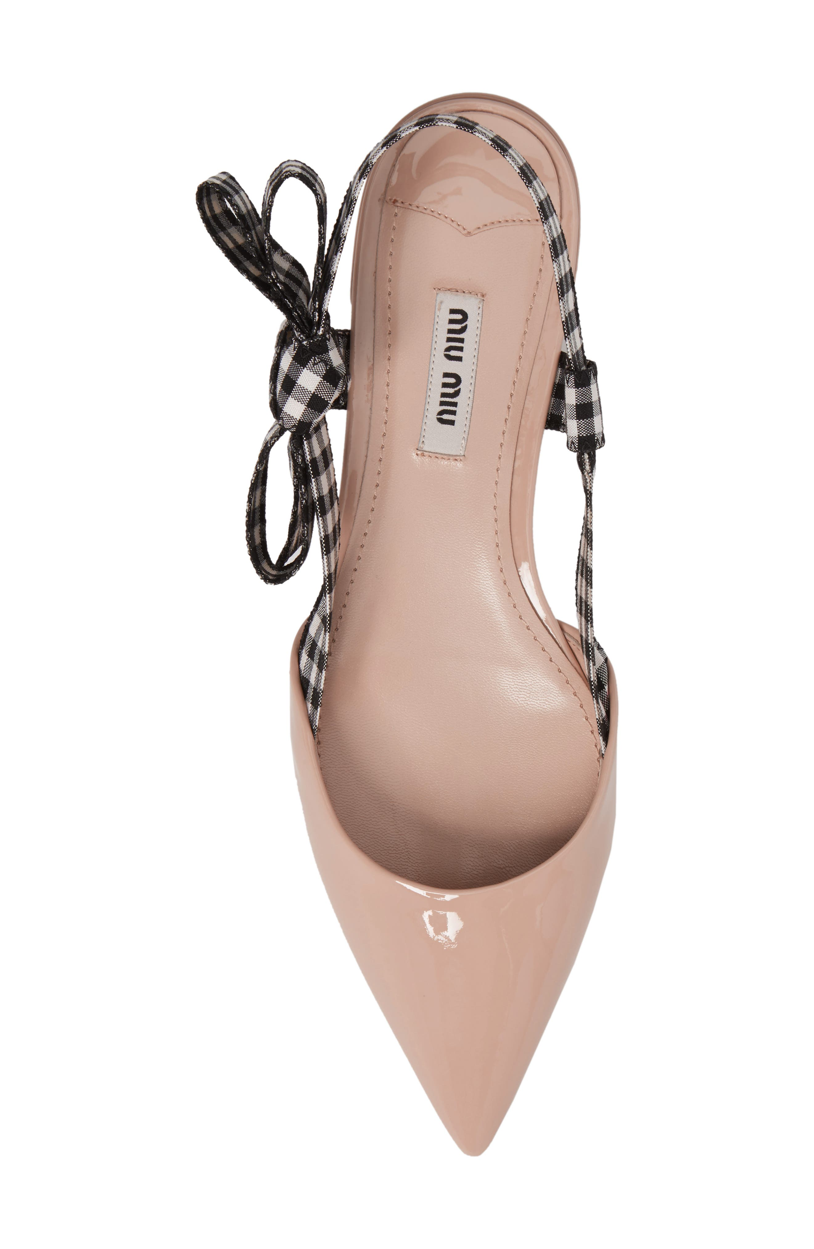 Slingback Bow Pointy Toe Flat,                             Alternate thumbnail 5, color,                             Cipria