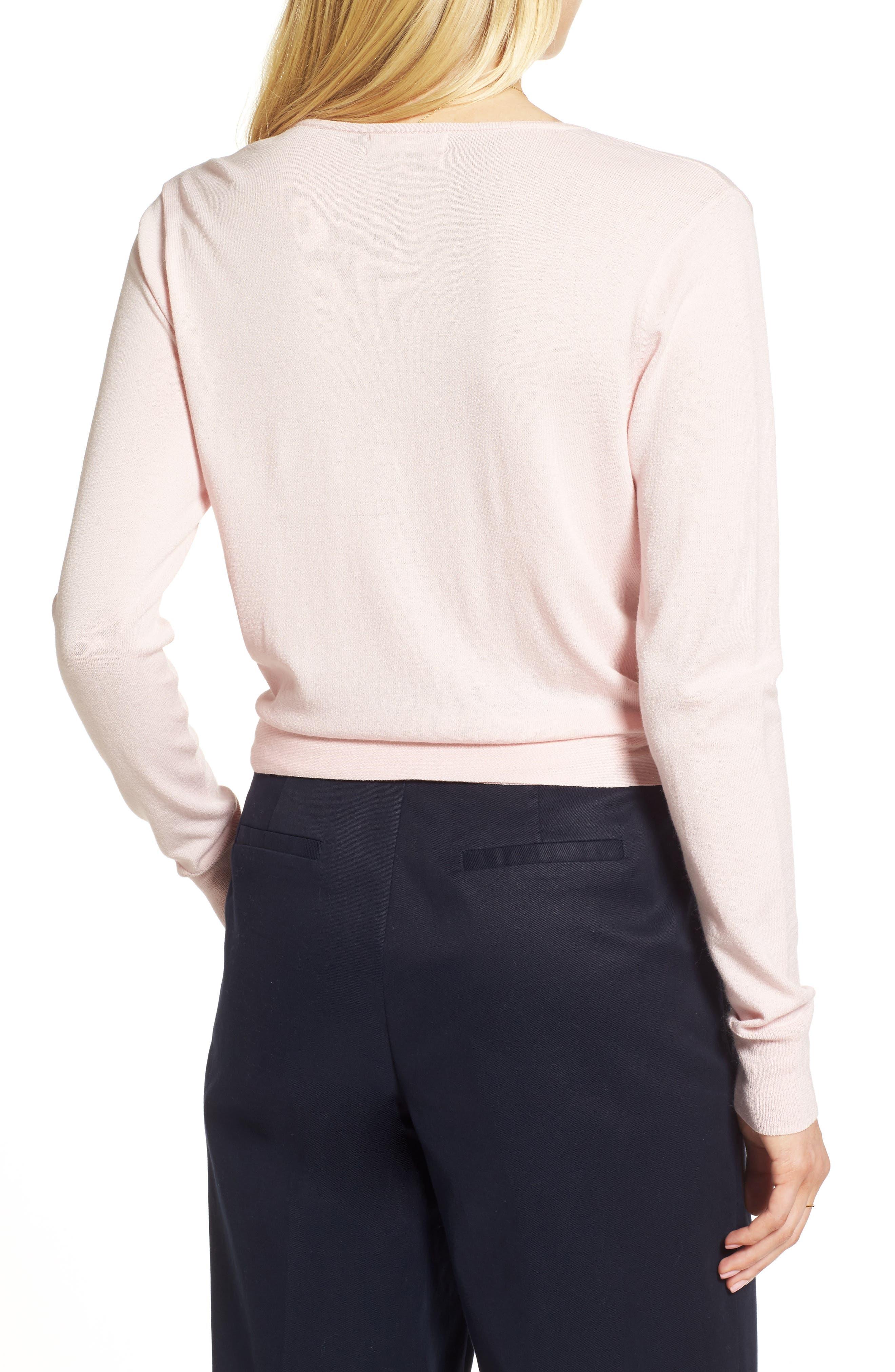 Wrap Sweater,                             Alternate thumbnail 3, color,                             Pink Potpourri