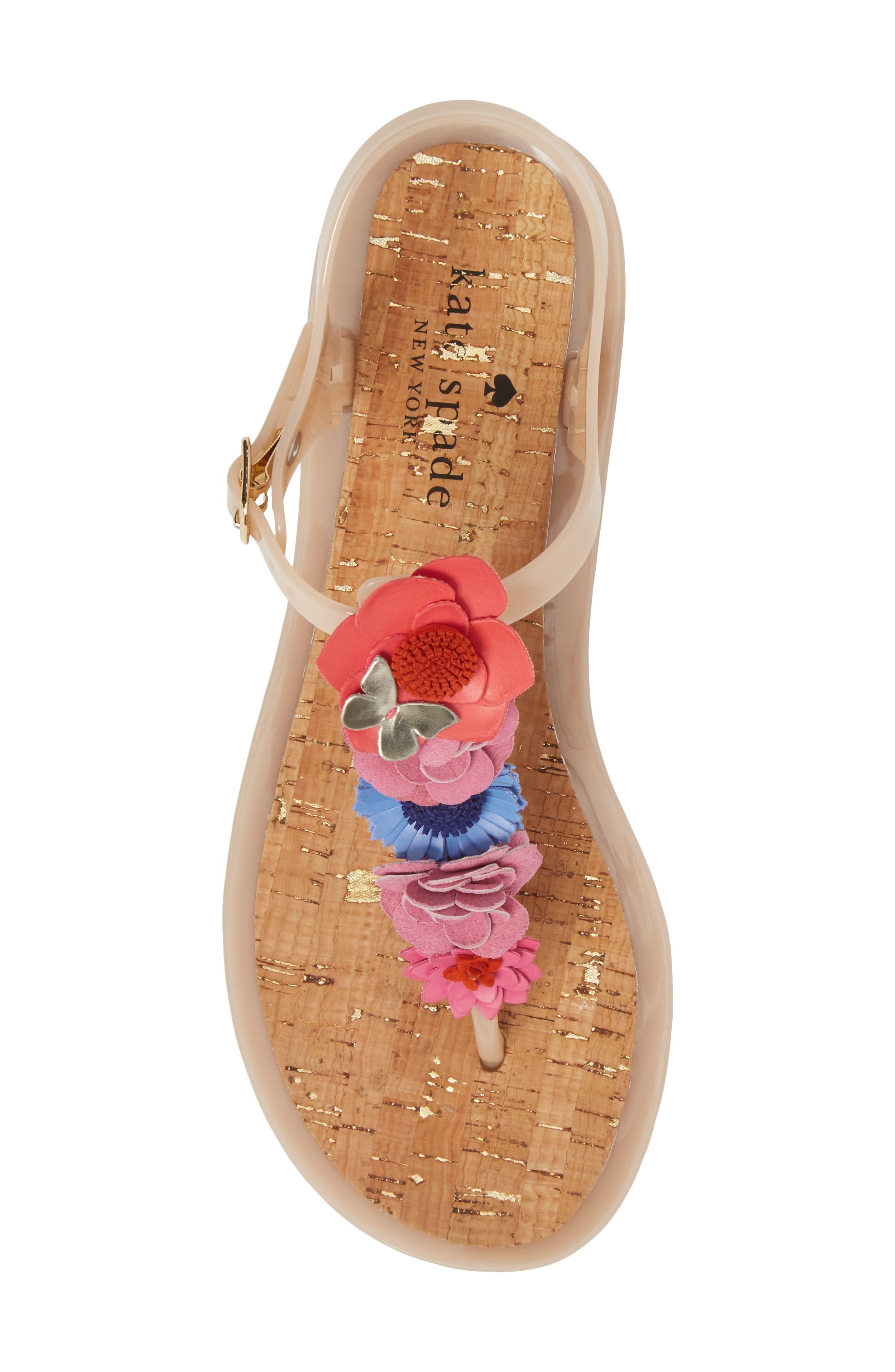 fatema floral embellished T-strap sandal,                             Alternate thumbnail 5, color,                             Dusty Mauve