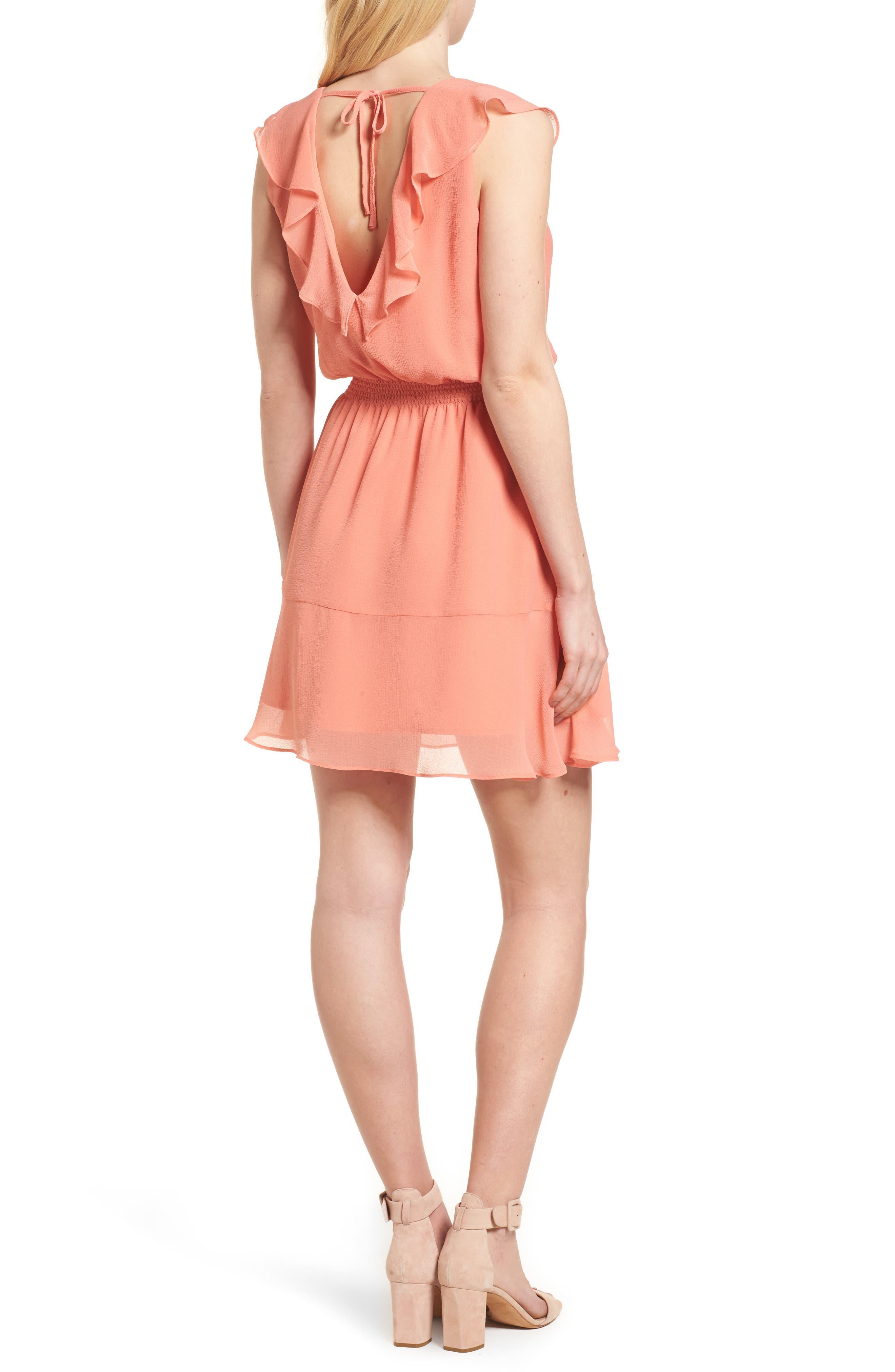 Iniko Blouson Dress,                             Alternate thumbnail 2, color,                             Spring Coral